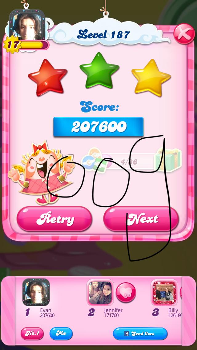 OOG: Candy Crush Saga: Level 187 (iOS) 207,600 points on 2018-03-28 14:55:40
