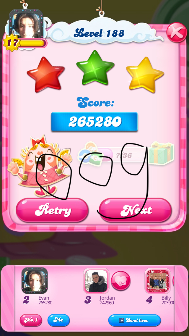 Candy Crush Saga: Level 188 265,280 points