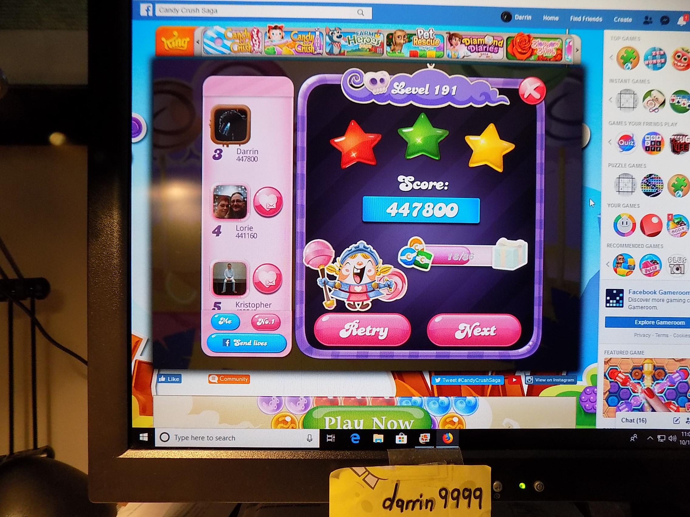 darrin9999: Candy Crush Saga: Level 191 (Web) 447,800 points on 2019-10-26 14:09:42