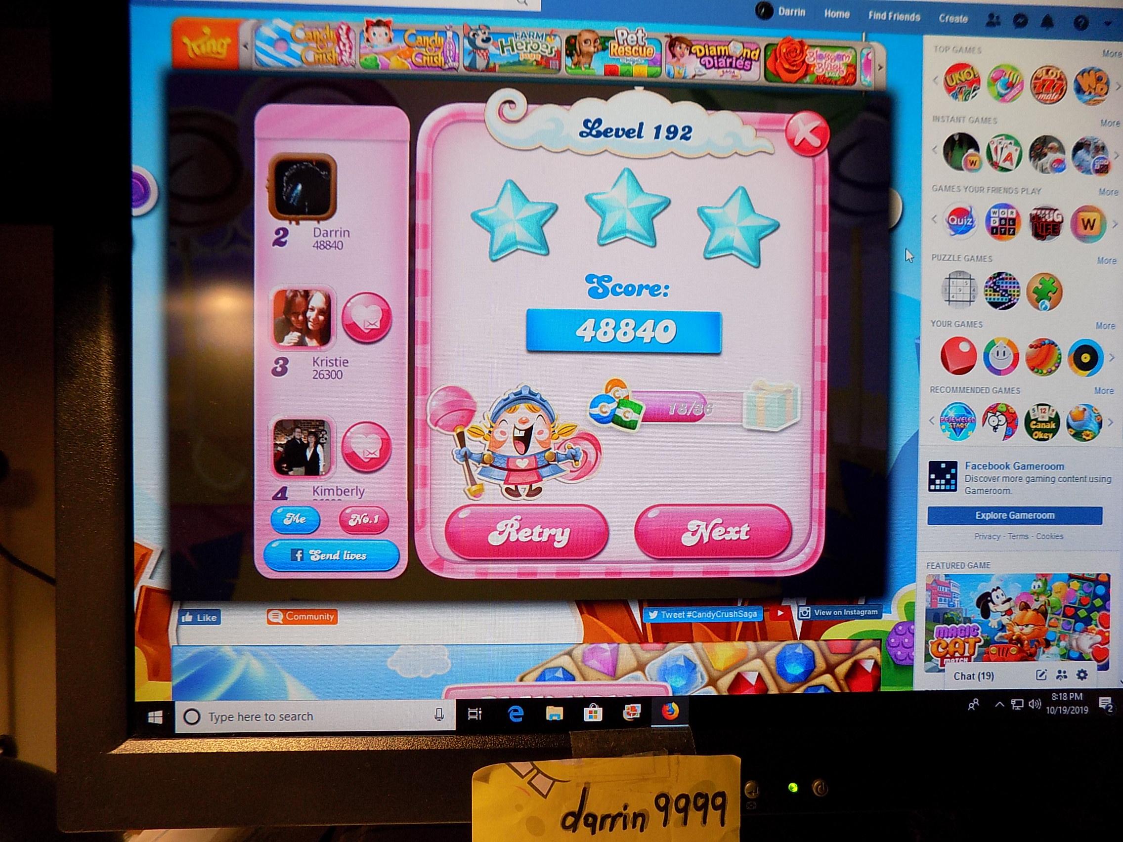 darrin9999: Candy Crush Saga: Level 192 (Web) 48,840 points on 2019-10-26 14:10:56