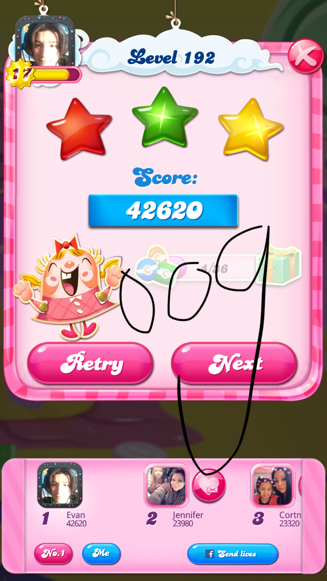 OOG: Candy Crush Saga: Level 192 (iOS) 42,620 points on 2018-03-28 14:47:32