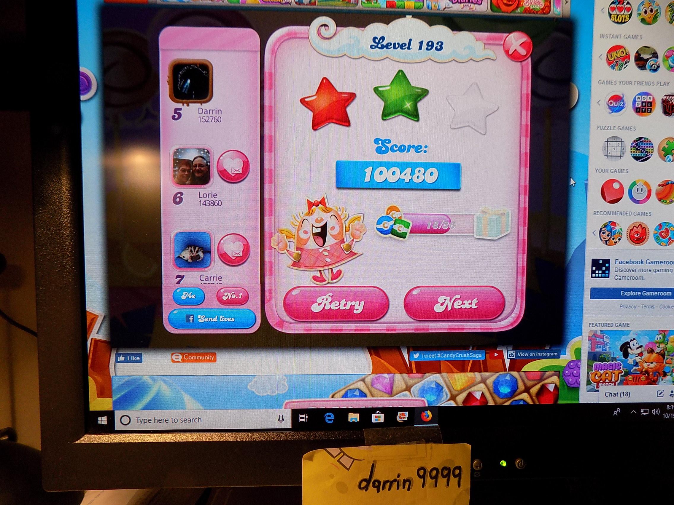 darrin9999: Candy Crush Saga: Level 193 (Web) 100,480 points on 2019-10-26 14:11:56