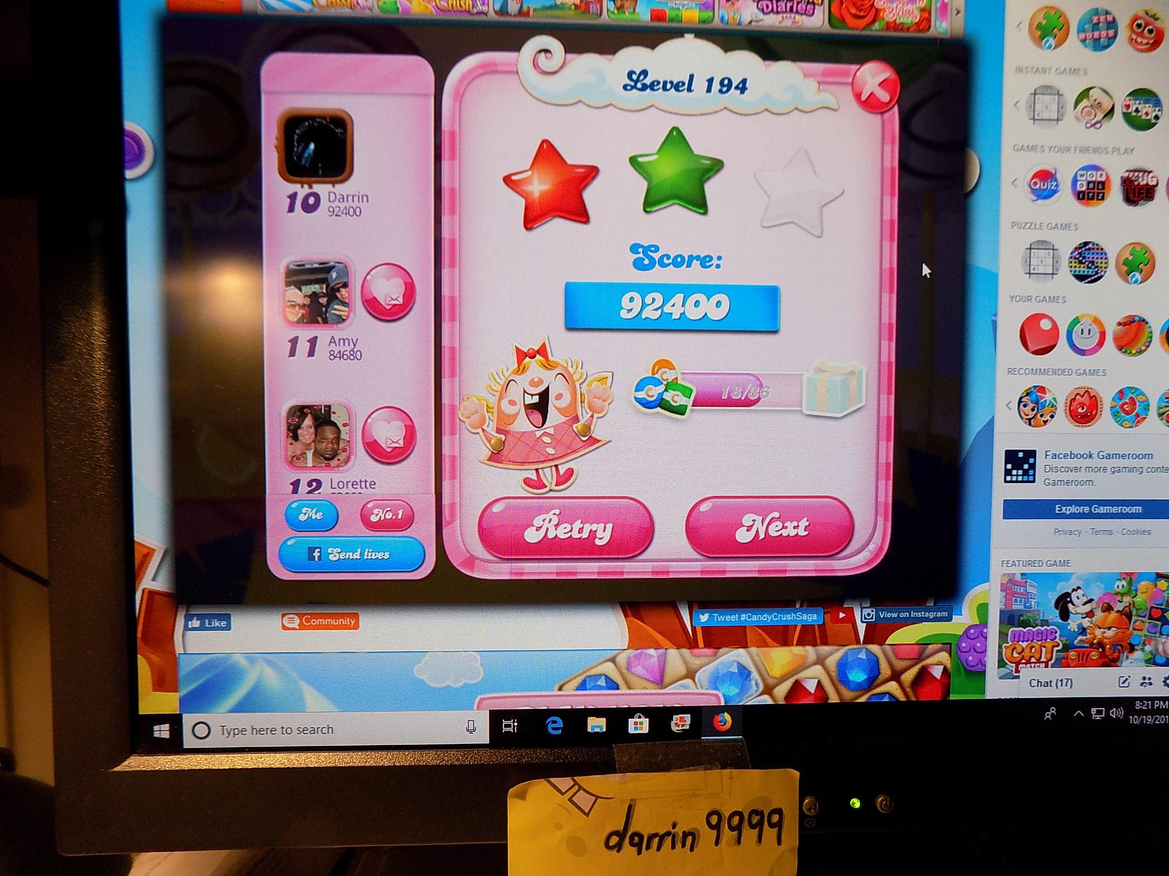 darrin9999: Candy Crush Saga: Level 194 (Web) 92,400 points on 2019-10-26 14:13:01