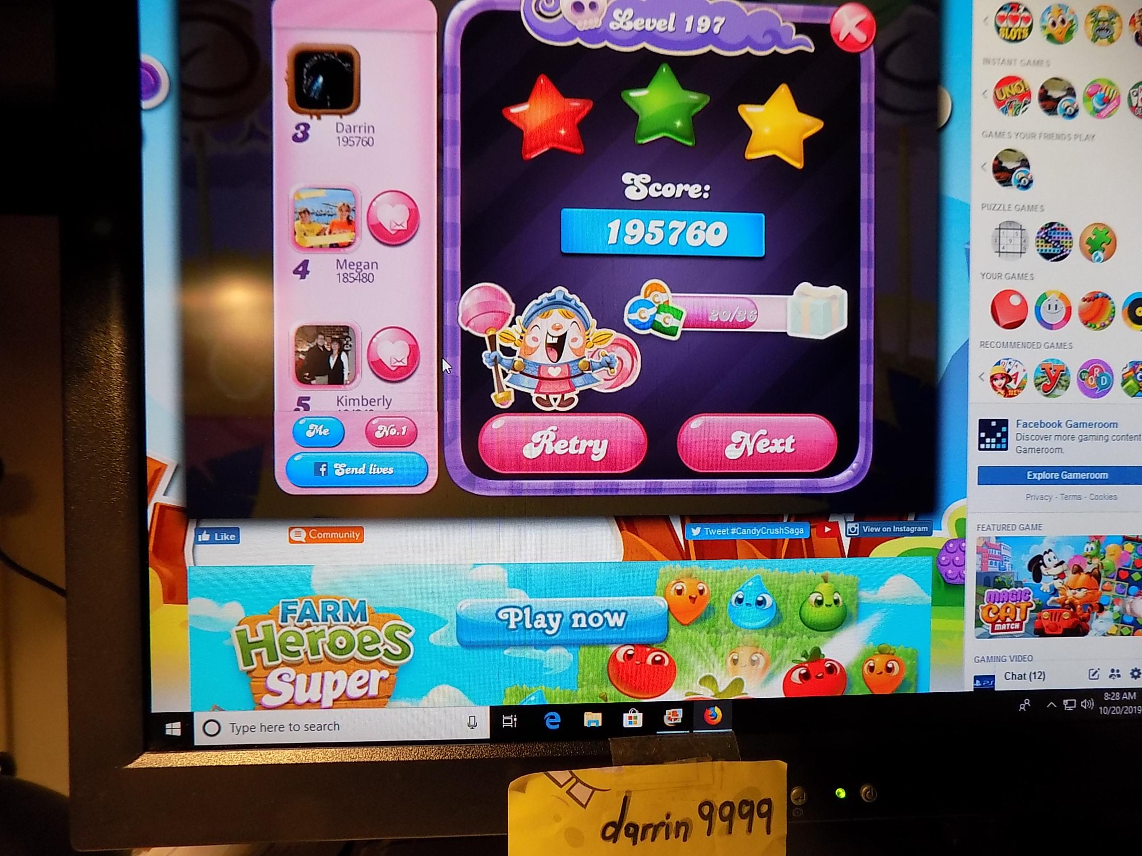 darrin9999: Candy Crush Saga: Level 197 (Web) 195,760 points on 2019-10-26 14:16:19