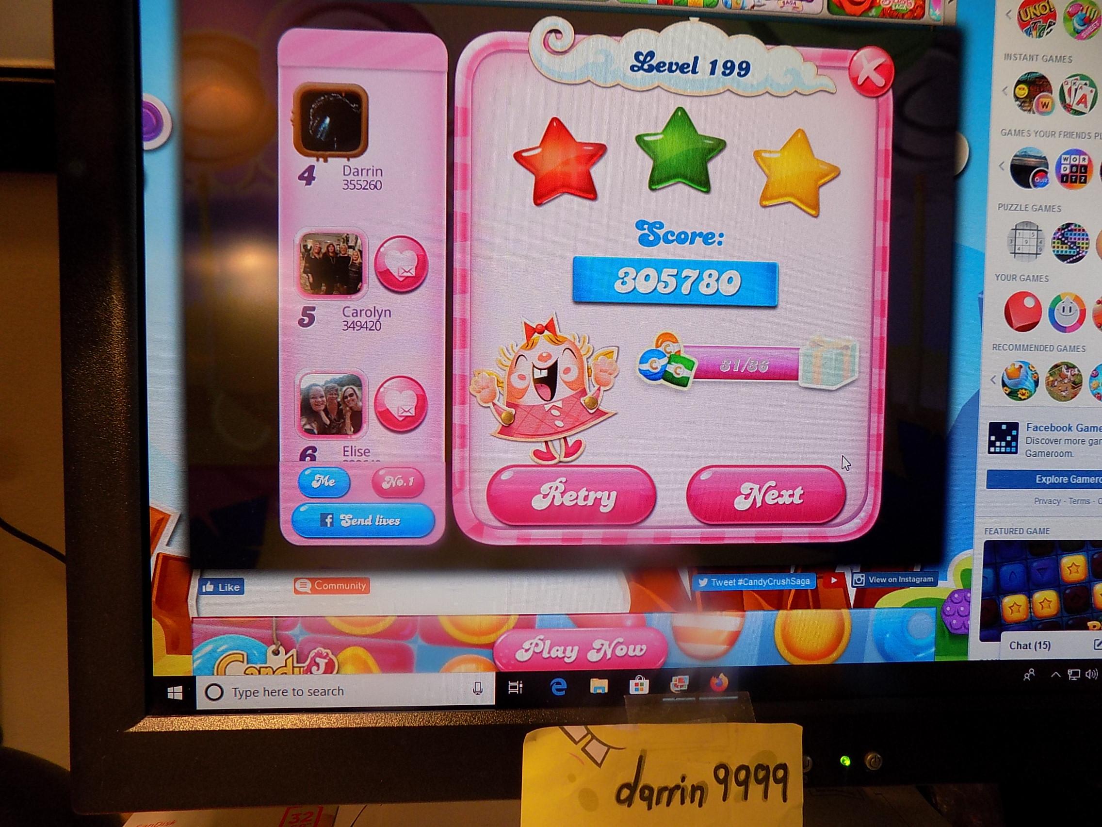 darrin9999: Candy Crush Saga: Level 199 (Web) 305,780 points on 2019-11-01 07:16:20