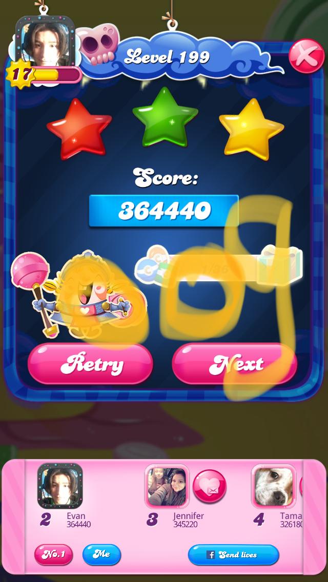 OOG: Candy Crush Saga: Level 199 (iOS) 364,440 points on 2018-03-25 01:52:08