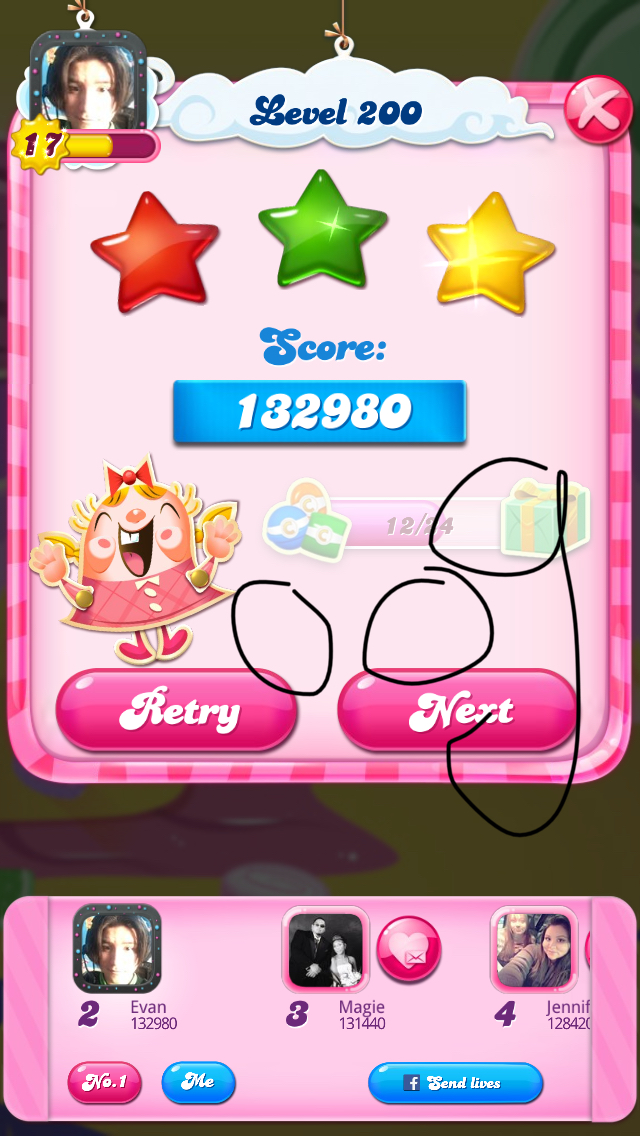 OOG: Candy Crush Saga: Level 200 (iOS) 132,980 points on 2018-03-25 01:46:02