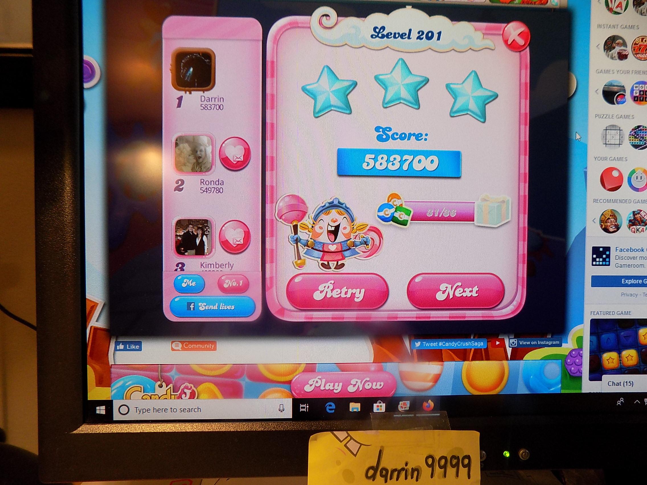darrin9999: Candy Crush Saga: Level 201 (Web) 583,700 points on 2019-11-18 06:26:27