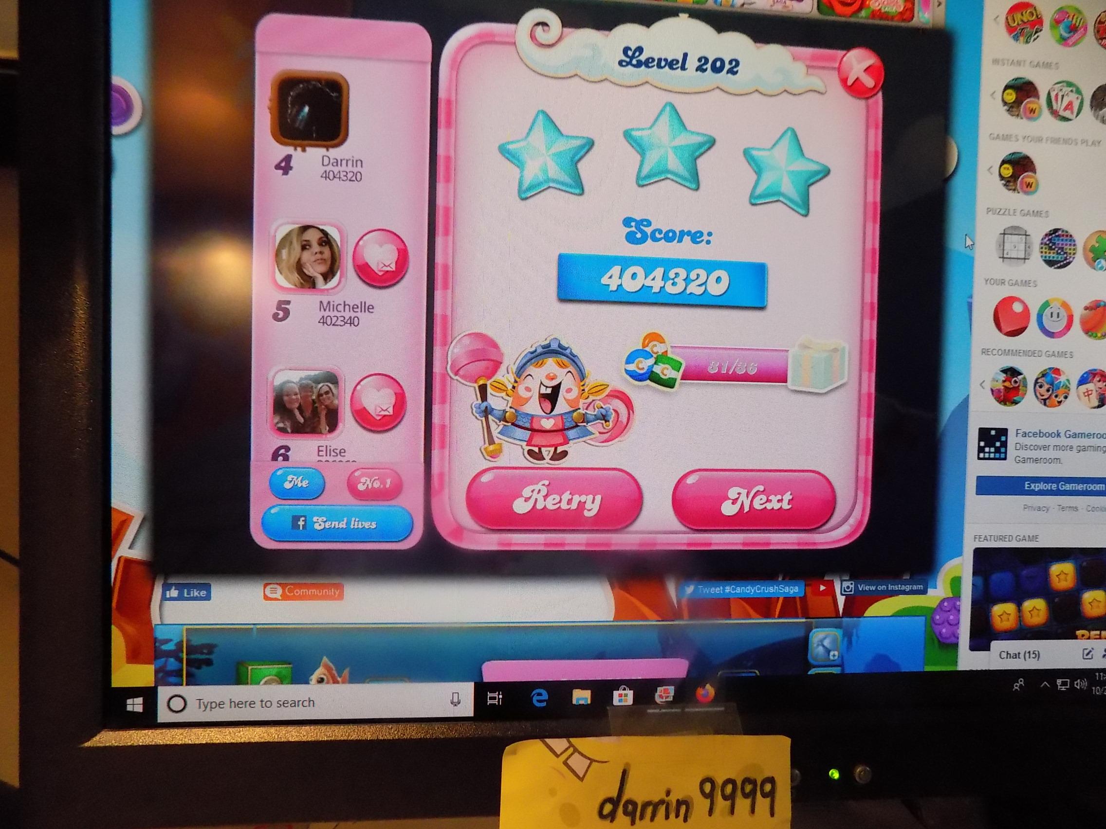 darrin9999: Candy Crush Saga: Level 202 (Web) 404,320 points on 2019-11-18 06:28:03