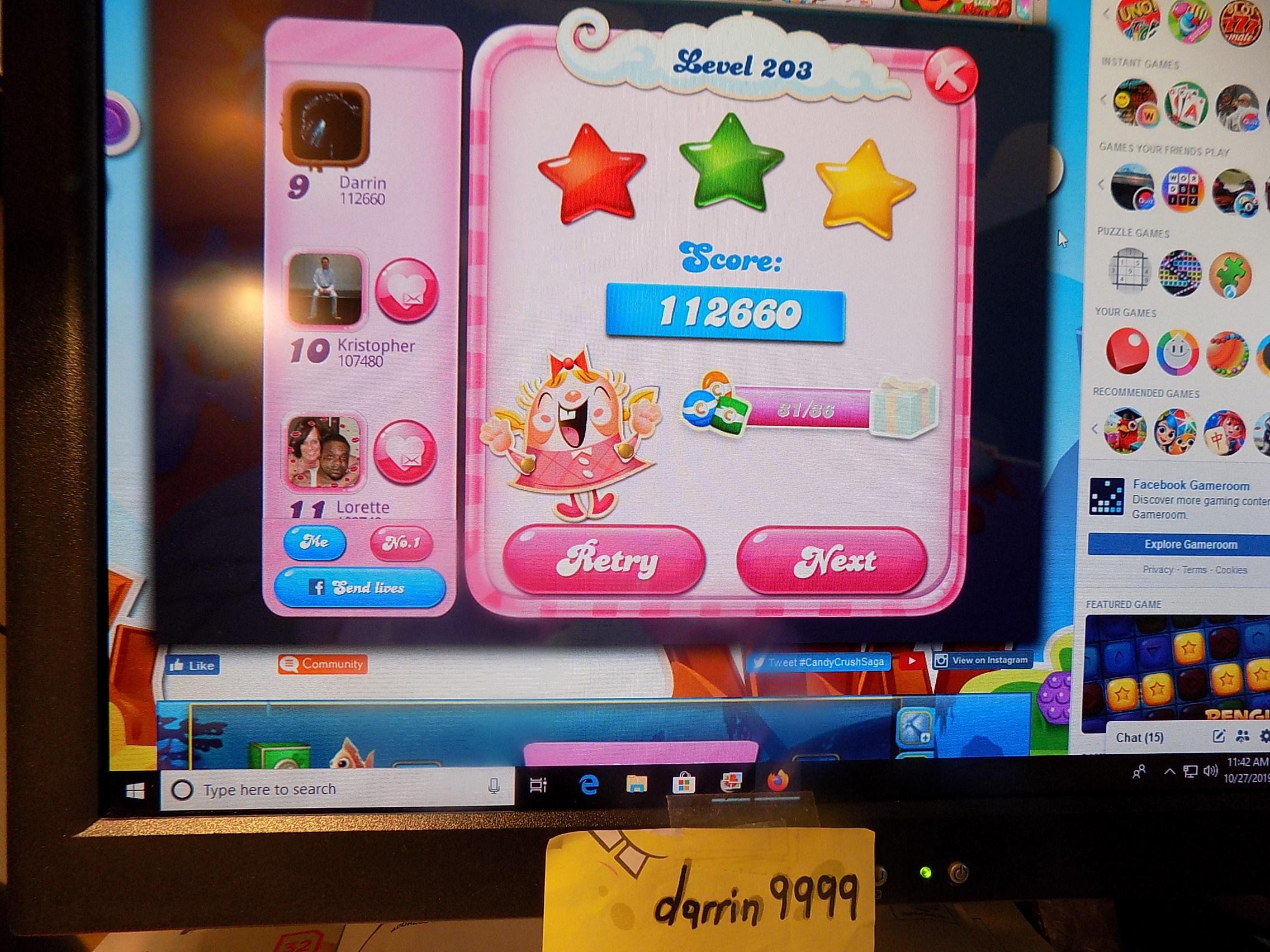 darrin9999: Candy Crush Saga: Level 203 (Web) 112,660 points on 2019-11-18 06:29:13