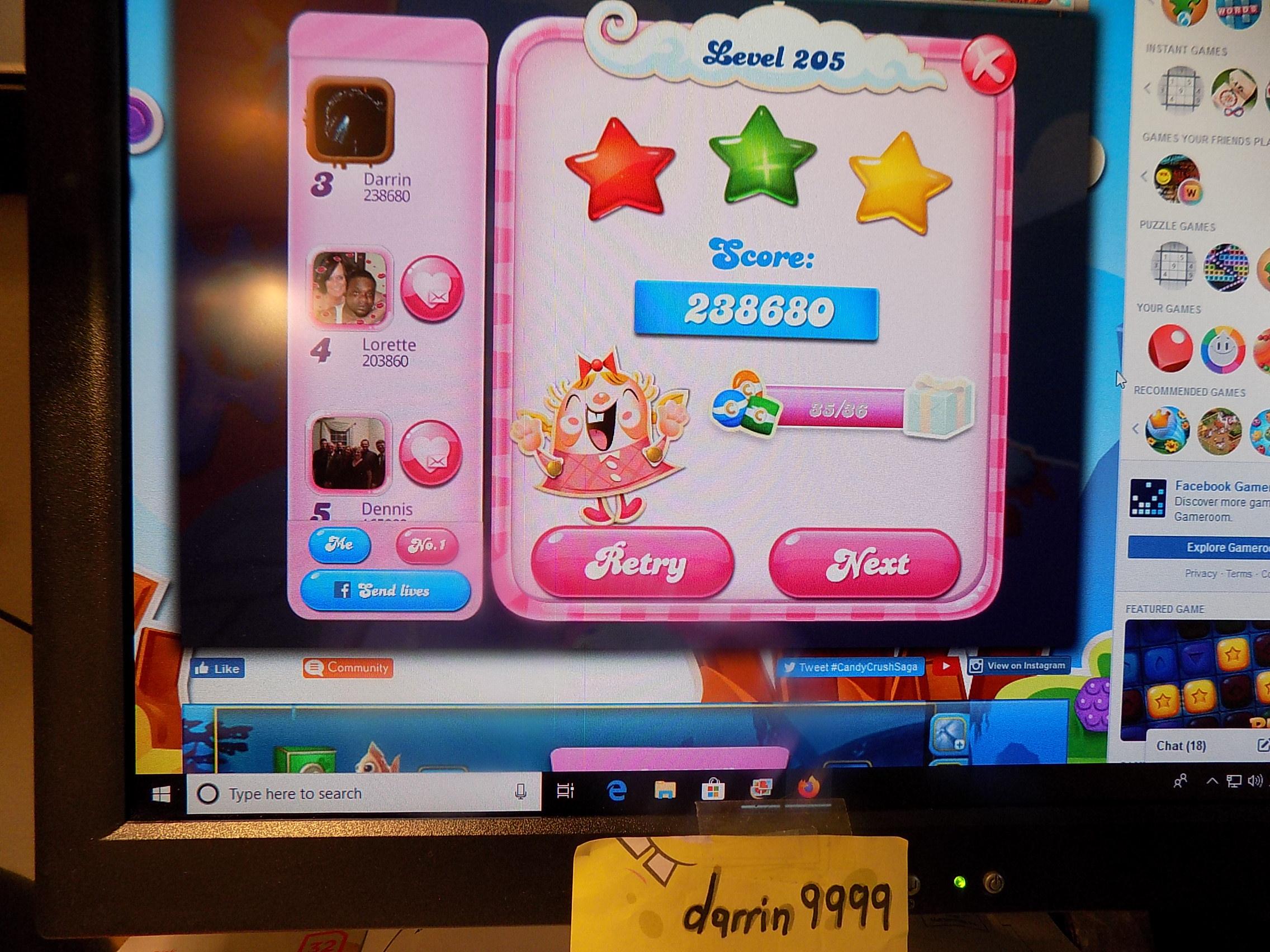 darrin9999: Candy Crush Saga: Level 205 (Web) 238,680 points on 2019-11-18 06:31:24