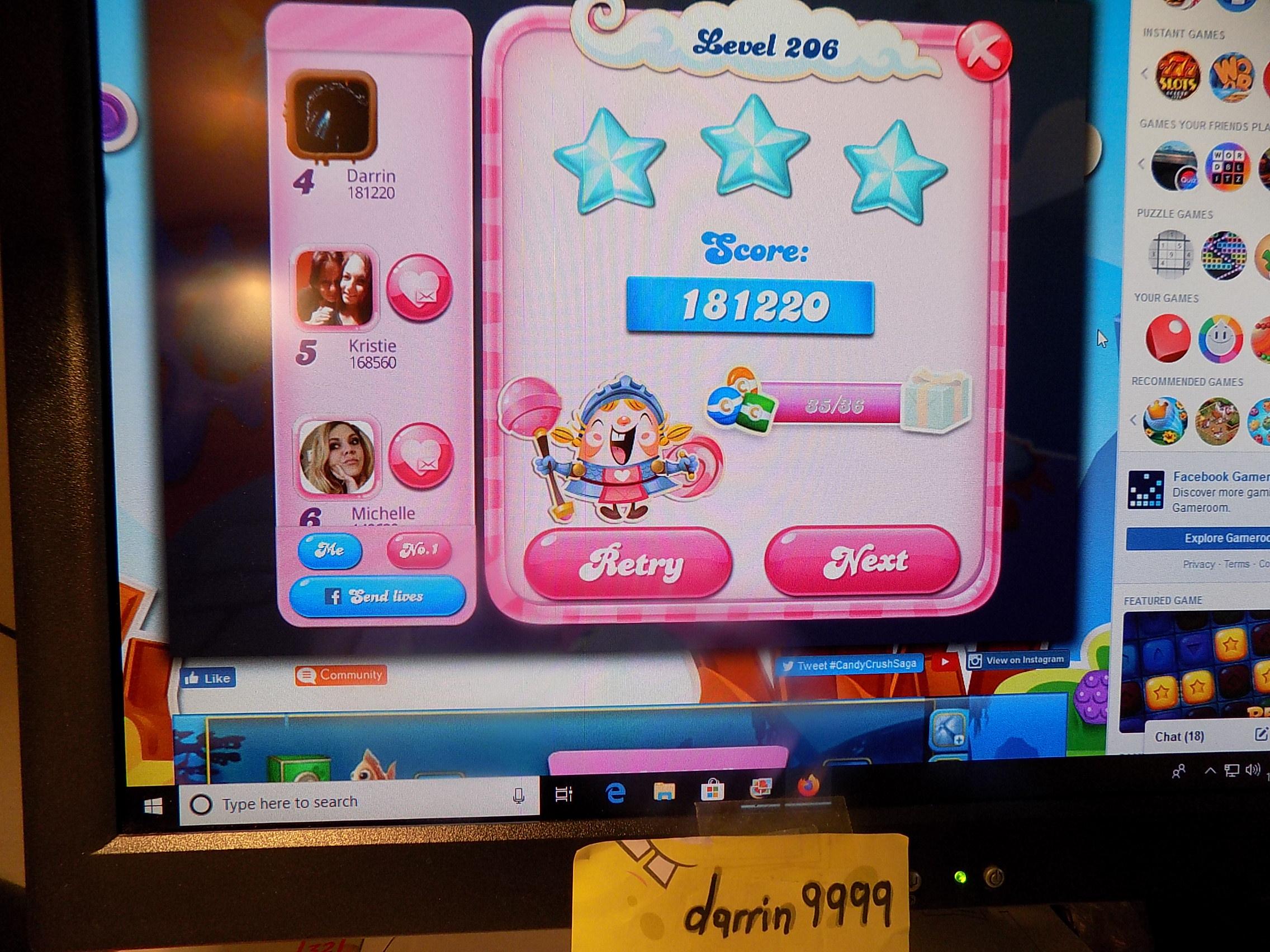 darrin9999: Candy Crush Saga: Level 206 (Web) 181,220 points on 2019-11-18 06:32:46