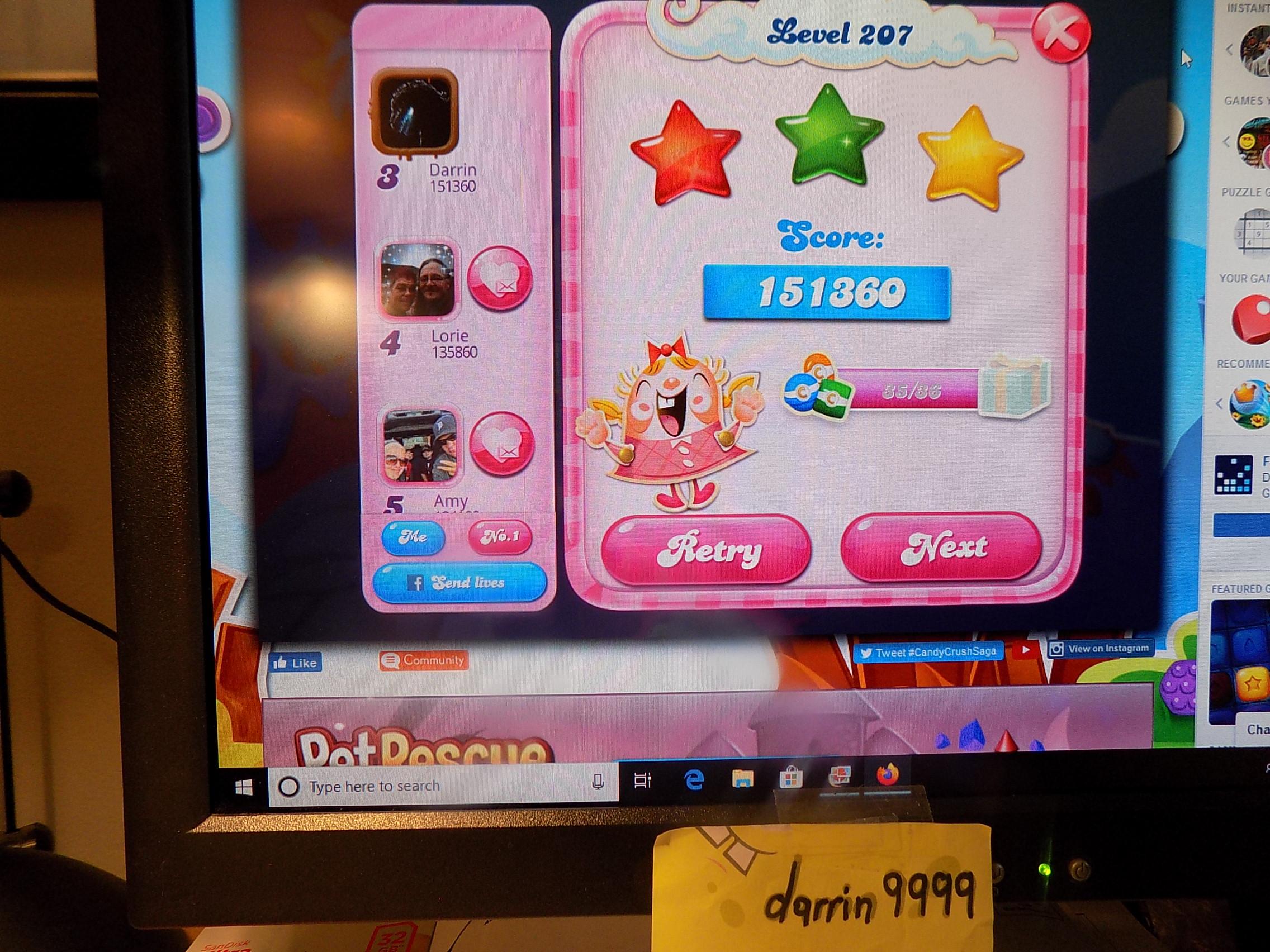 darrin9999: Candy Crush Saga: Level 207 (Web) 151,360 points on 2019-11-18 06:34:06