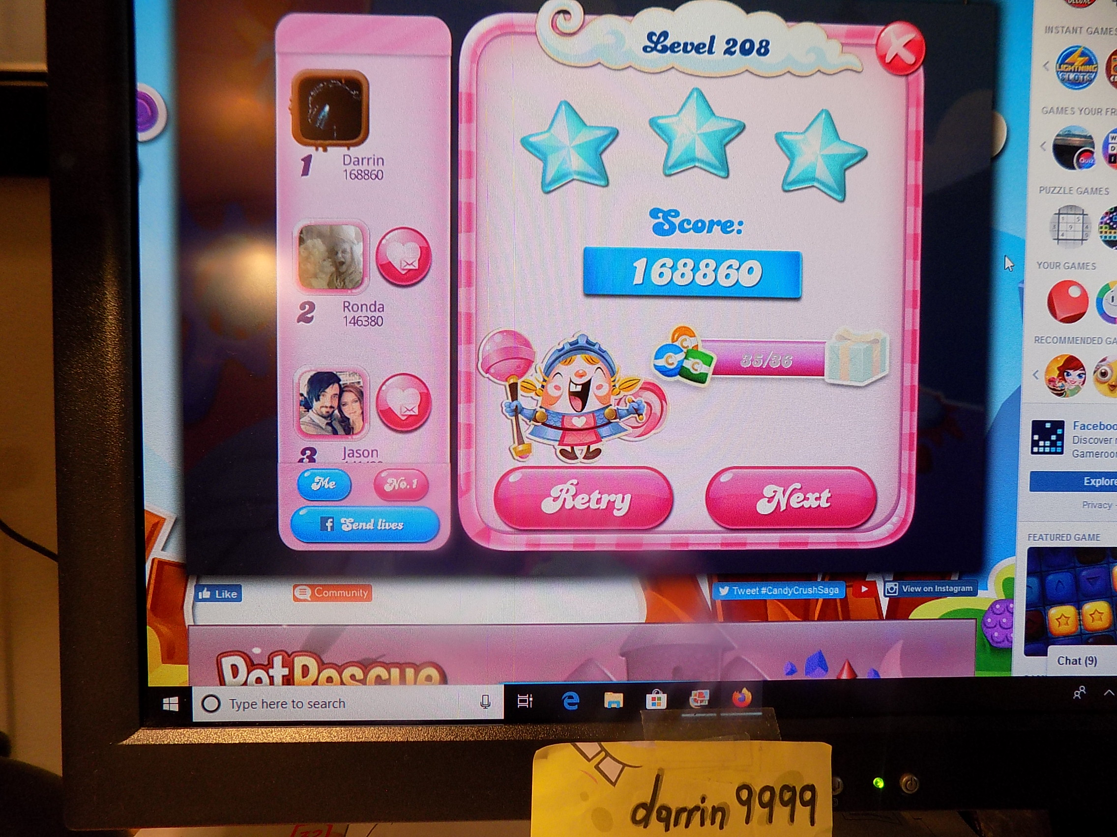 darrin9999: Candy Crush Saga: Level 208 (Web) 168,860 points on 2019-11-18 06:35:14