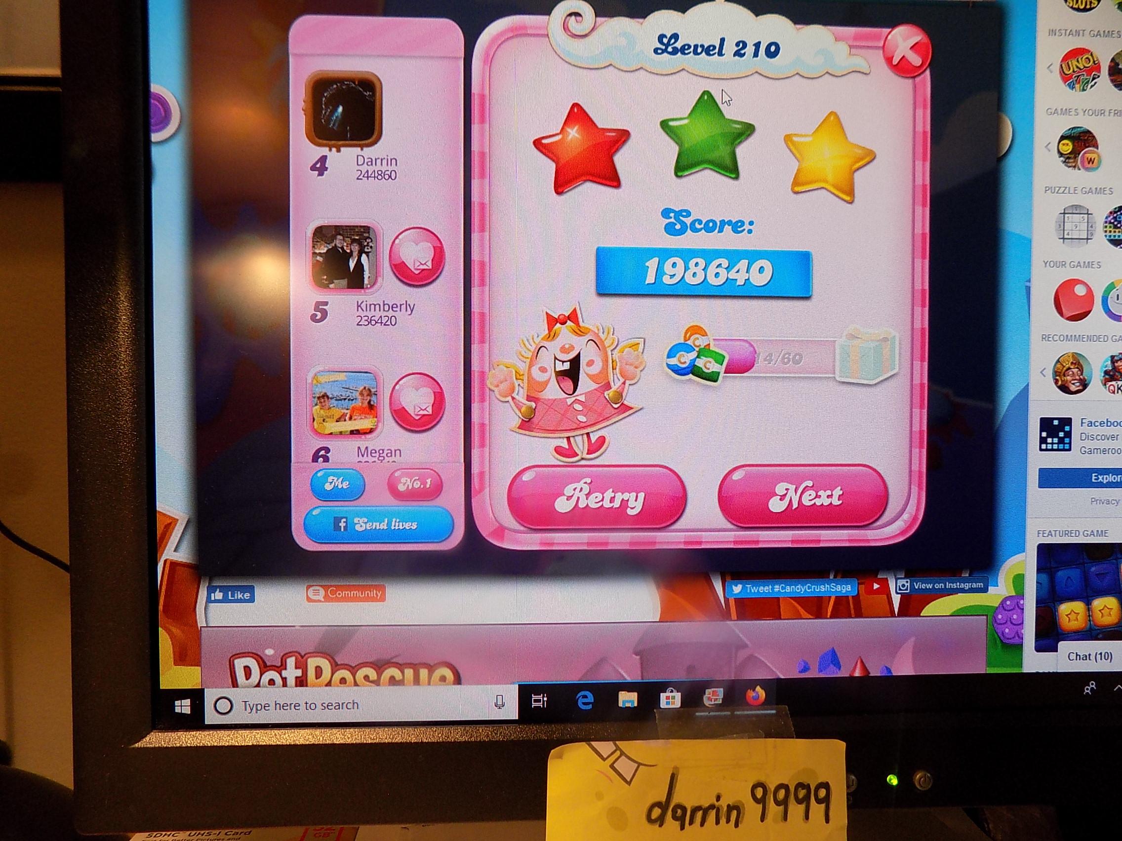 darrin9999: Candy Crush Saga: Level 210 (Web) 198,640 points on 2019-11-18 06:38:04