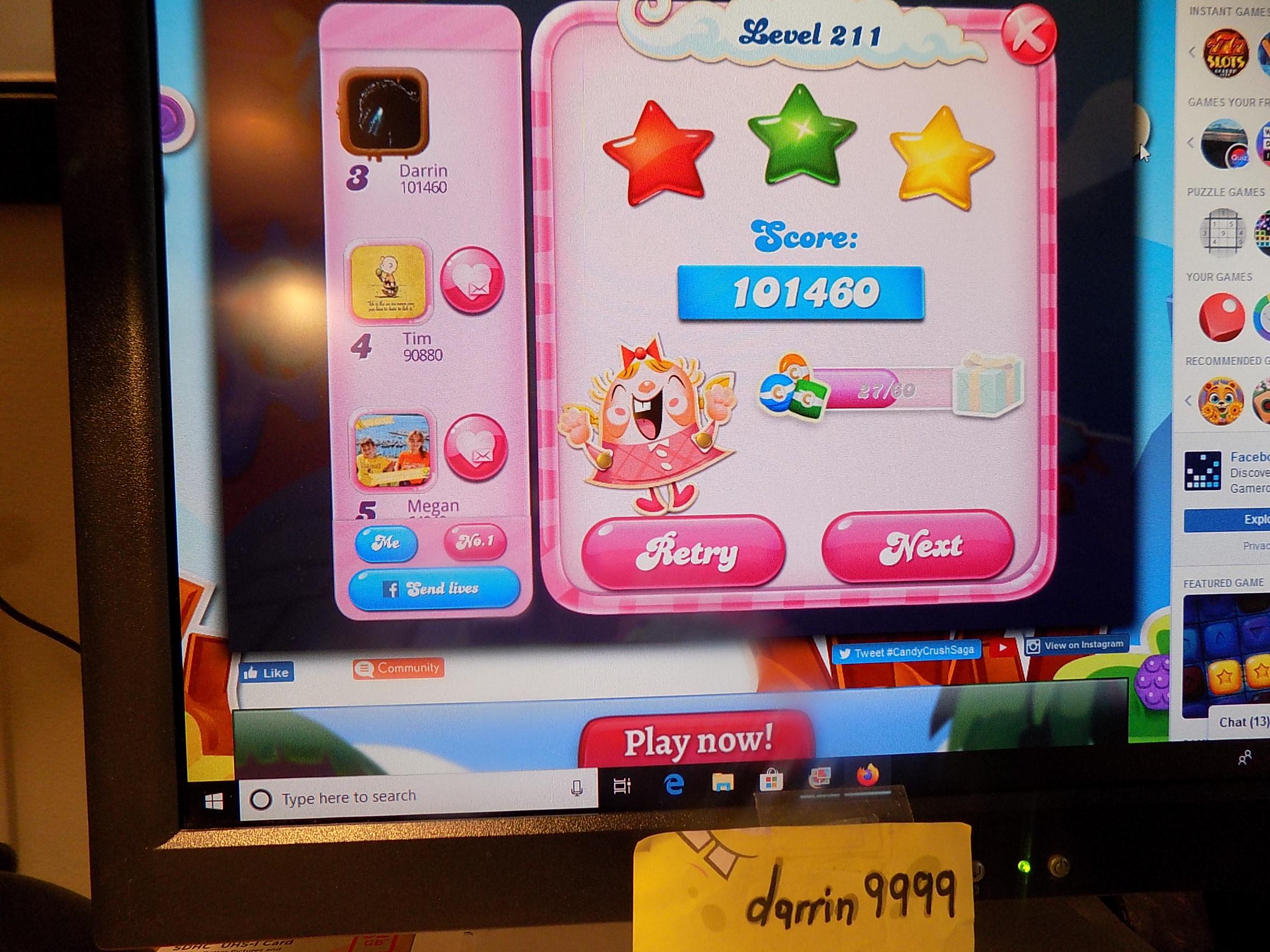 darrin9999: Candy Crush Saga: Level 211 (Web) 101,460 points on 2019-11-18 06:39:48