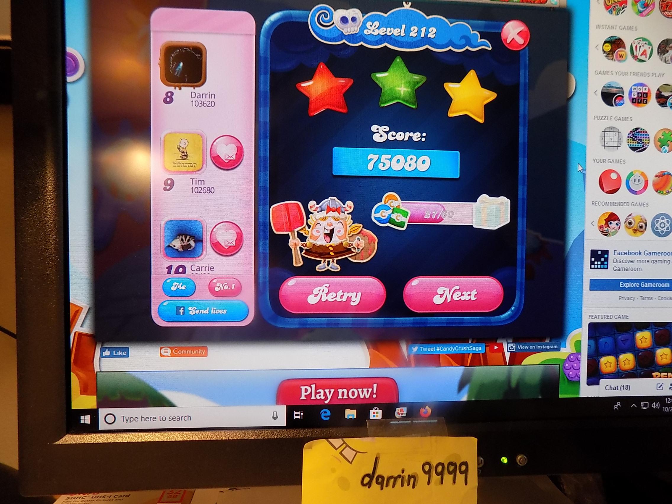 darrin9999: Candy Crush Saga: Level 212 (Web) 75,080 points on 2019-11-18 06:40:57