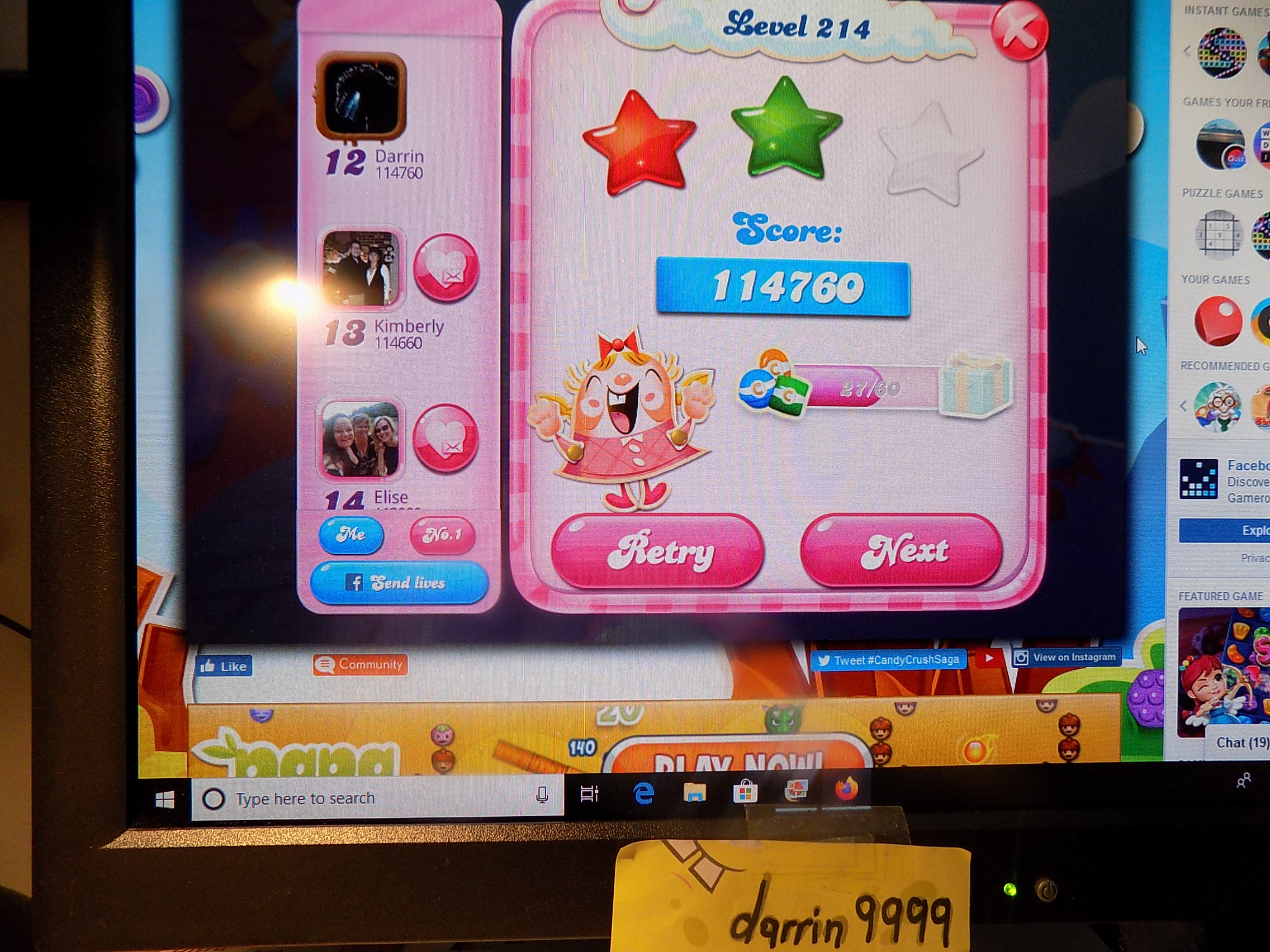 darrin9999: Candy Crush Saga: Level 214 (Web) 114,760 points on 2019-11-18 06:43:16