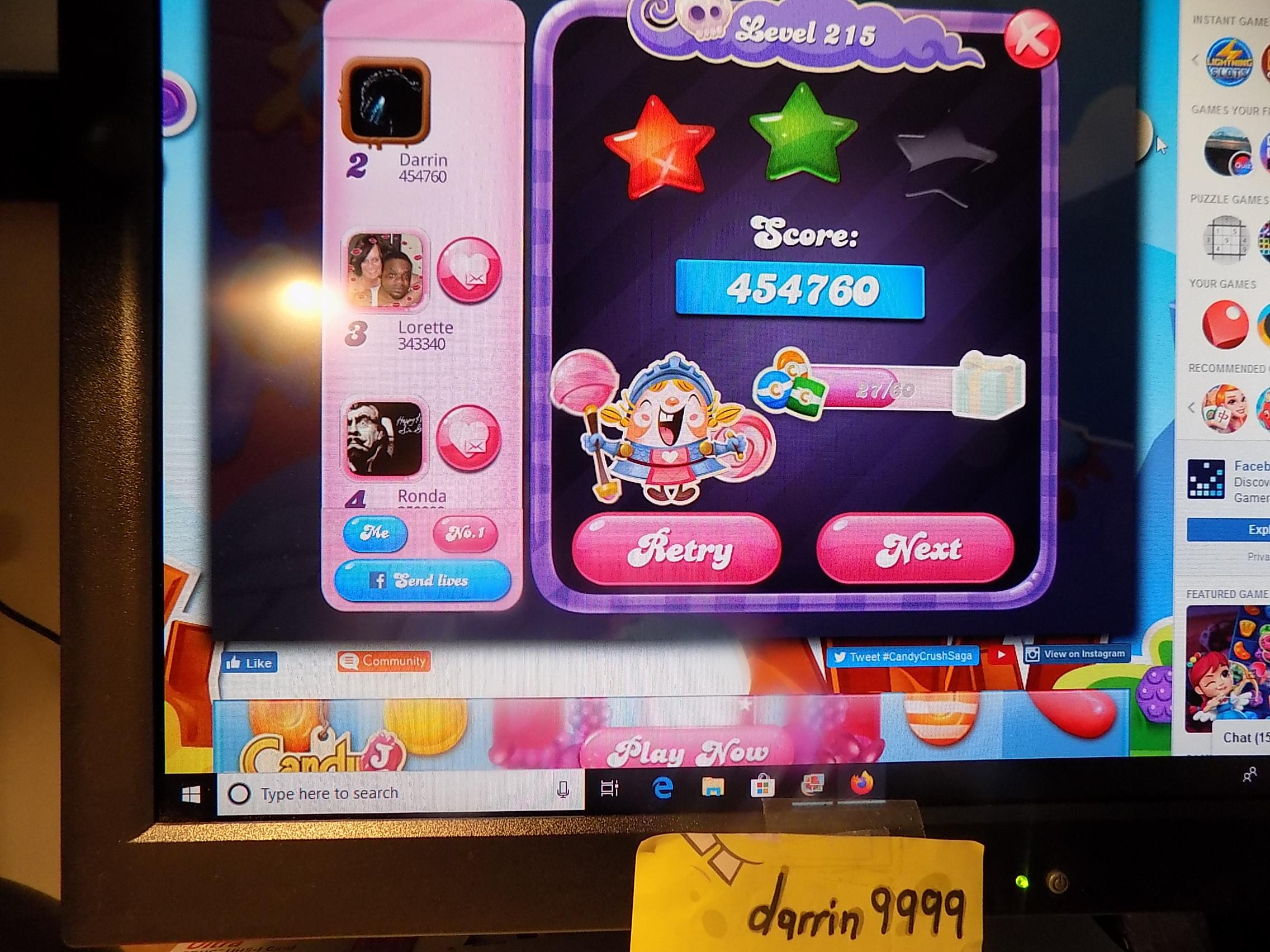 darrin9999: Candy Crush Saga: Level 215 (Web) 454,760 points on 2019-11-18 06:44:25