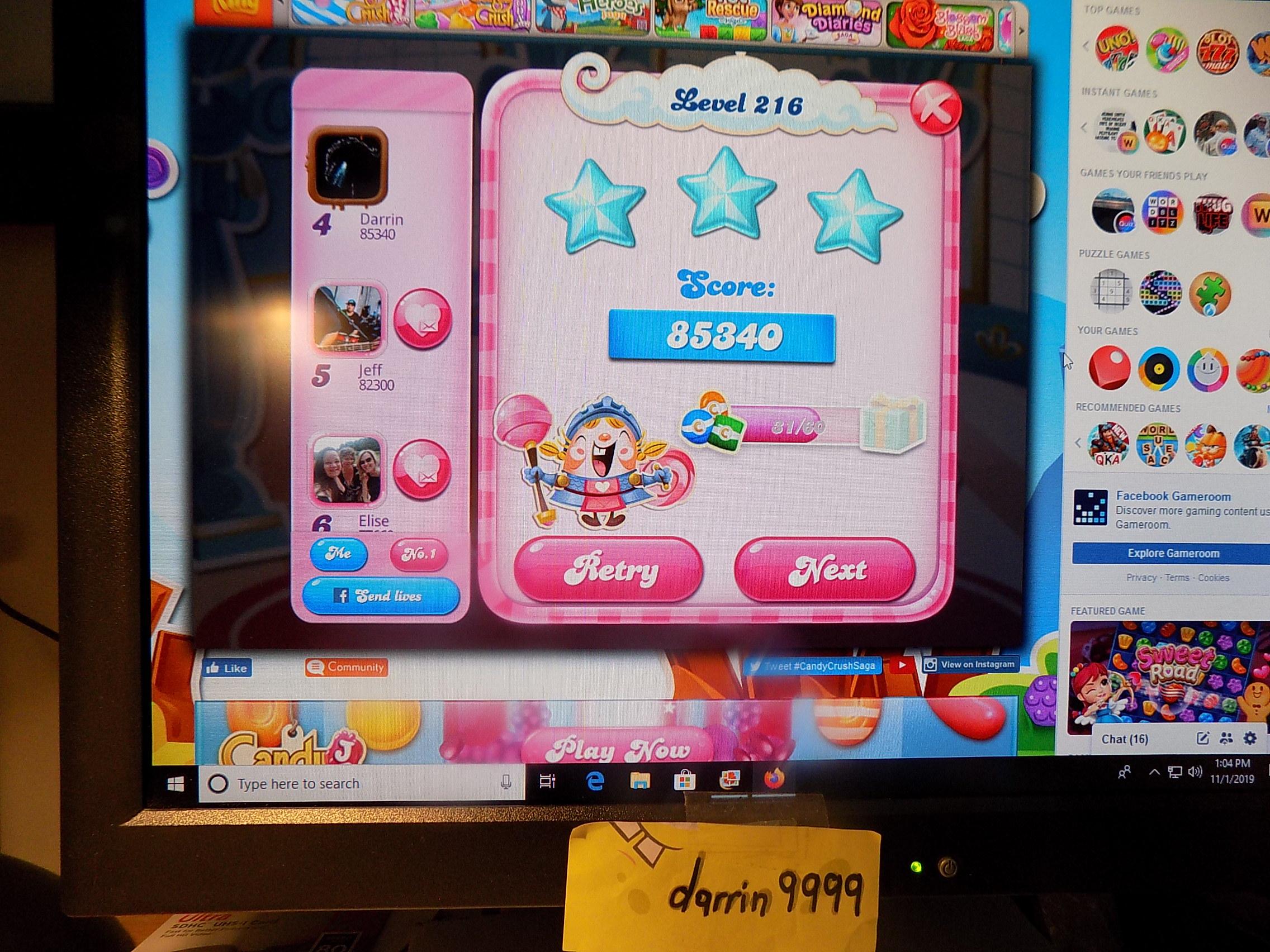 darrin9999: Candy Crush Saga: Level 216 (Web) 85,340 points on 2019-11-18 06:45:31