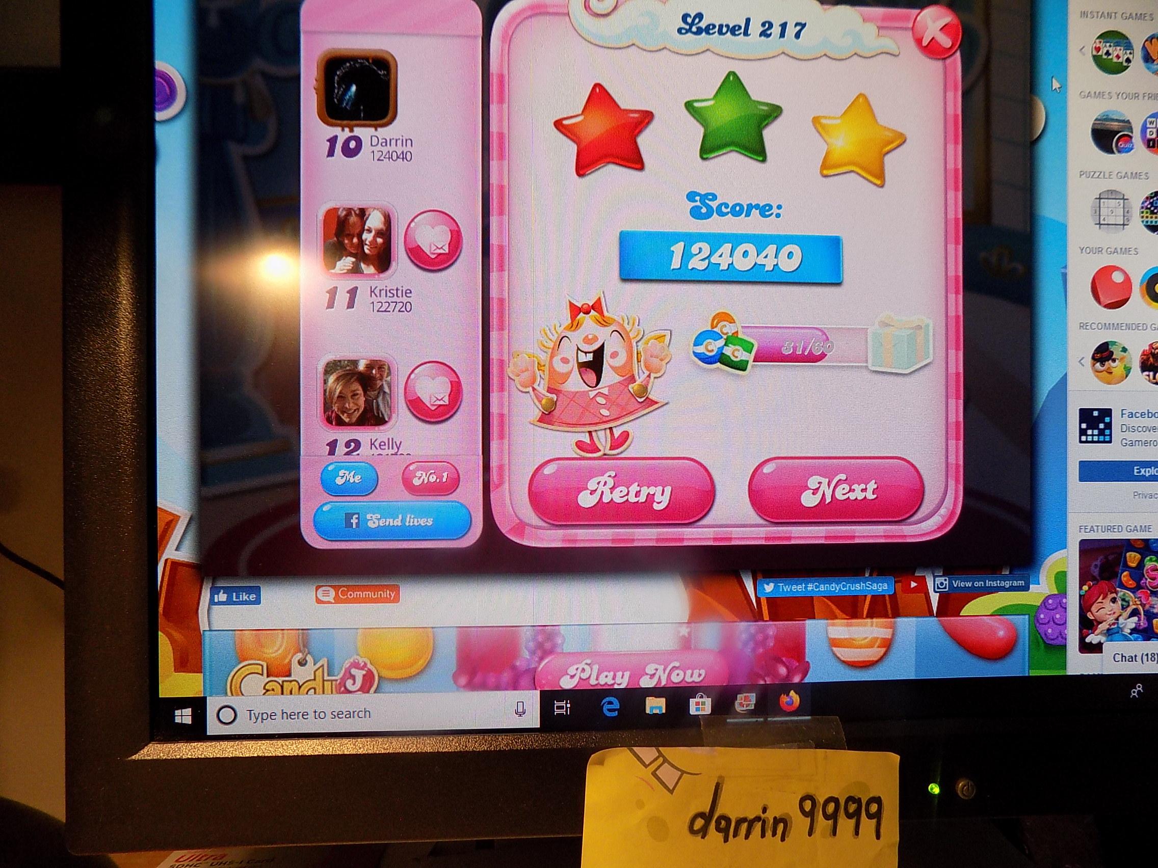 darrin9999: Candy Crush Saga: Level 217 (Web) 124,040 points on 2019-11-18 06:46:33