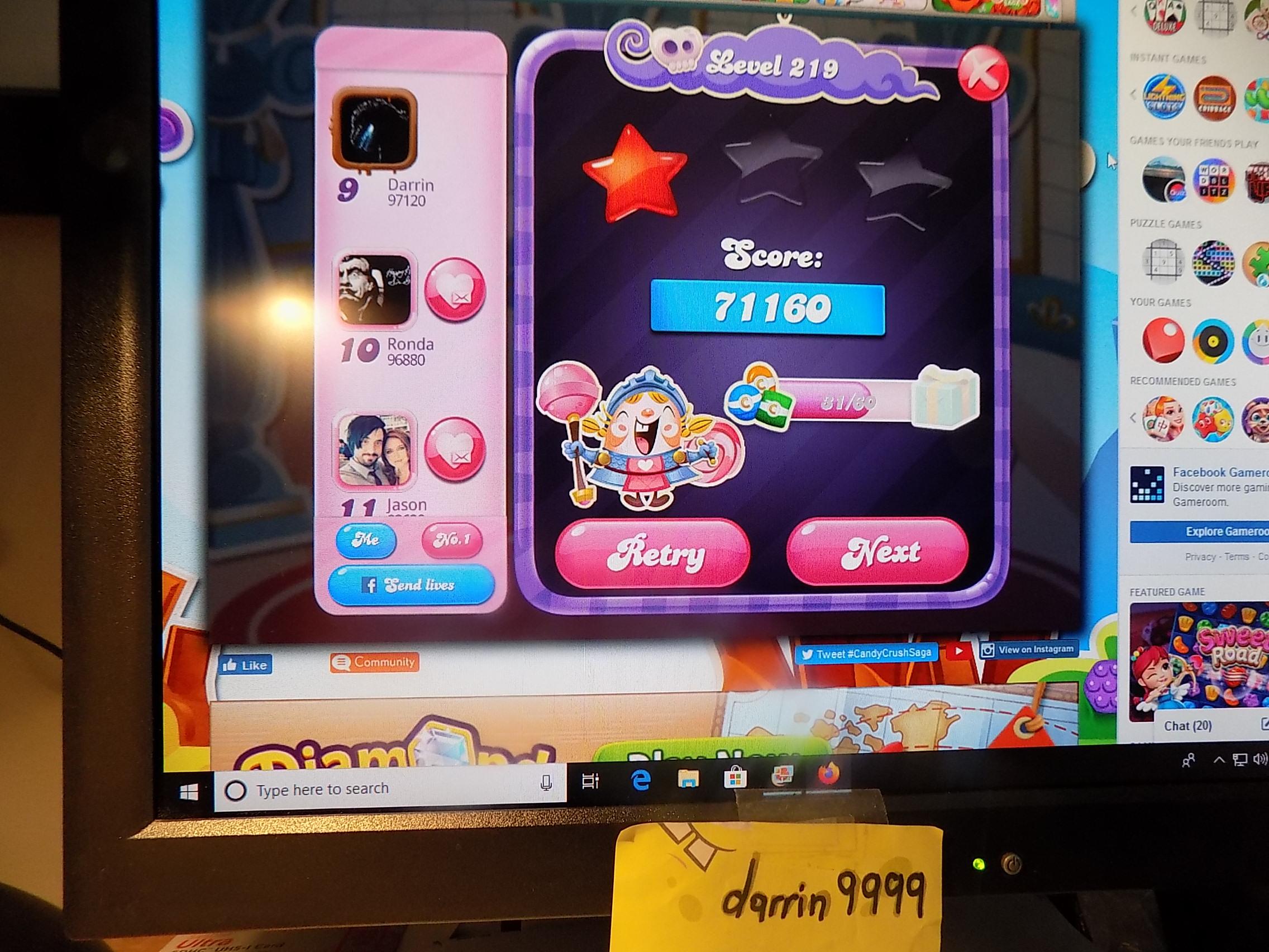 darrin9999: Candy Crush Saga: Level 219 (Web) 71,160 points on 2019-11-18 06:48:54