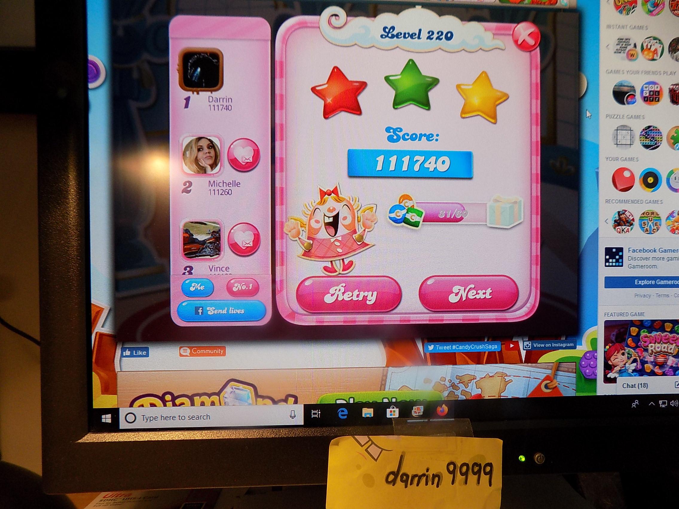 darrin9999: Candy Crush Saga: Level 220 (Web) 111,740 points on 2019-11-18 06:49:52