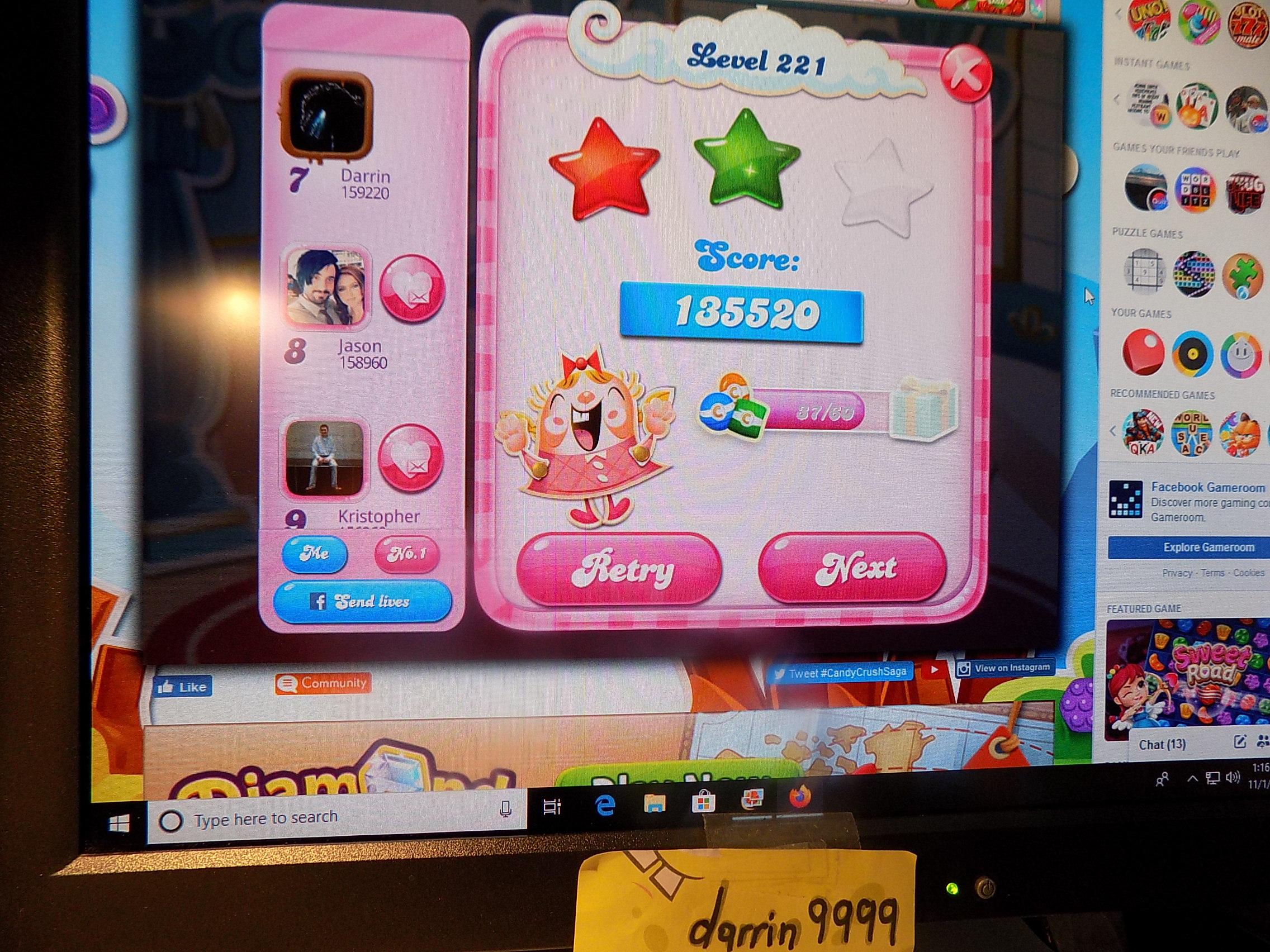 darrin9999: Candy Crush Saga: Level 221 (Web) 135,520 points on 2019-11-18 06:50:59