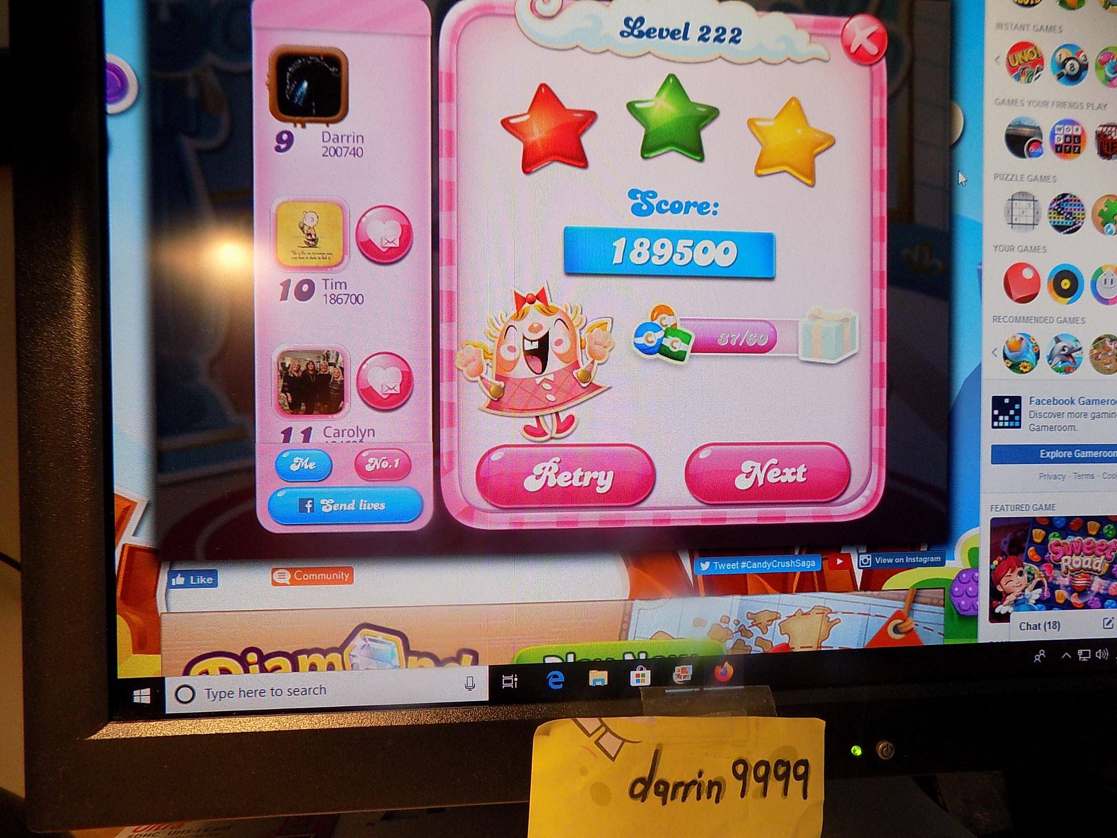 darrin9999: Candy Crush Saga: Level 222 (Web) 189,500 points on 2019-11-18 06:52:00