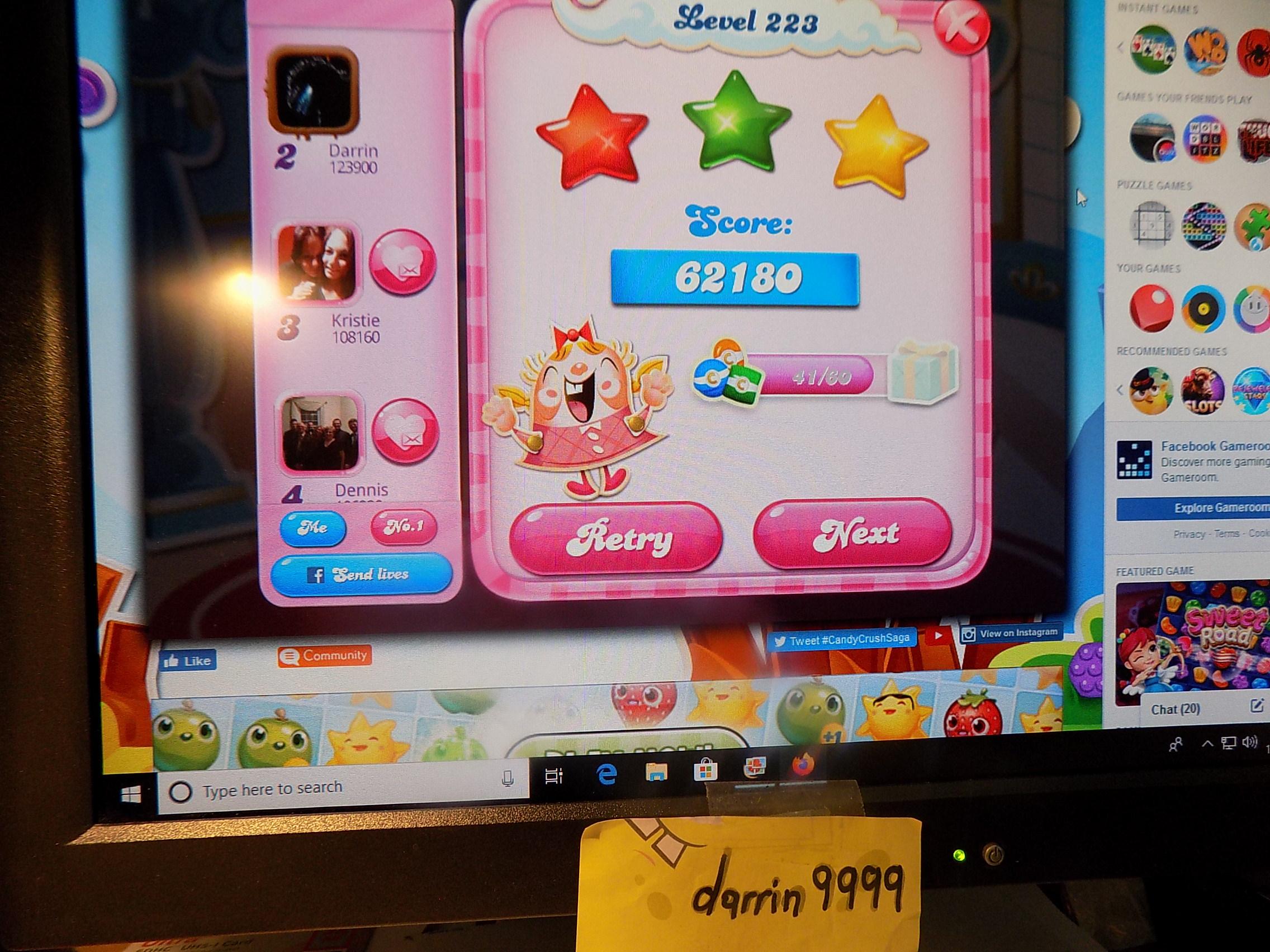 darrin9999: Candy Crush Saga: Level 223 (Web) 62,180 points on 2019-11-18 06:53:06