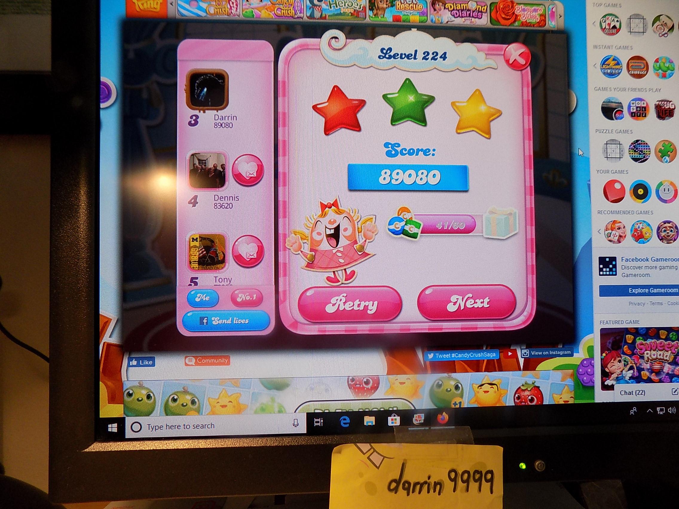 darrin9999: Candy Crush Saga: Level 224 (Web) 89,080 points on 2019-11-18 06:54:12
