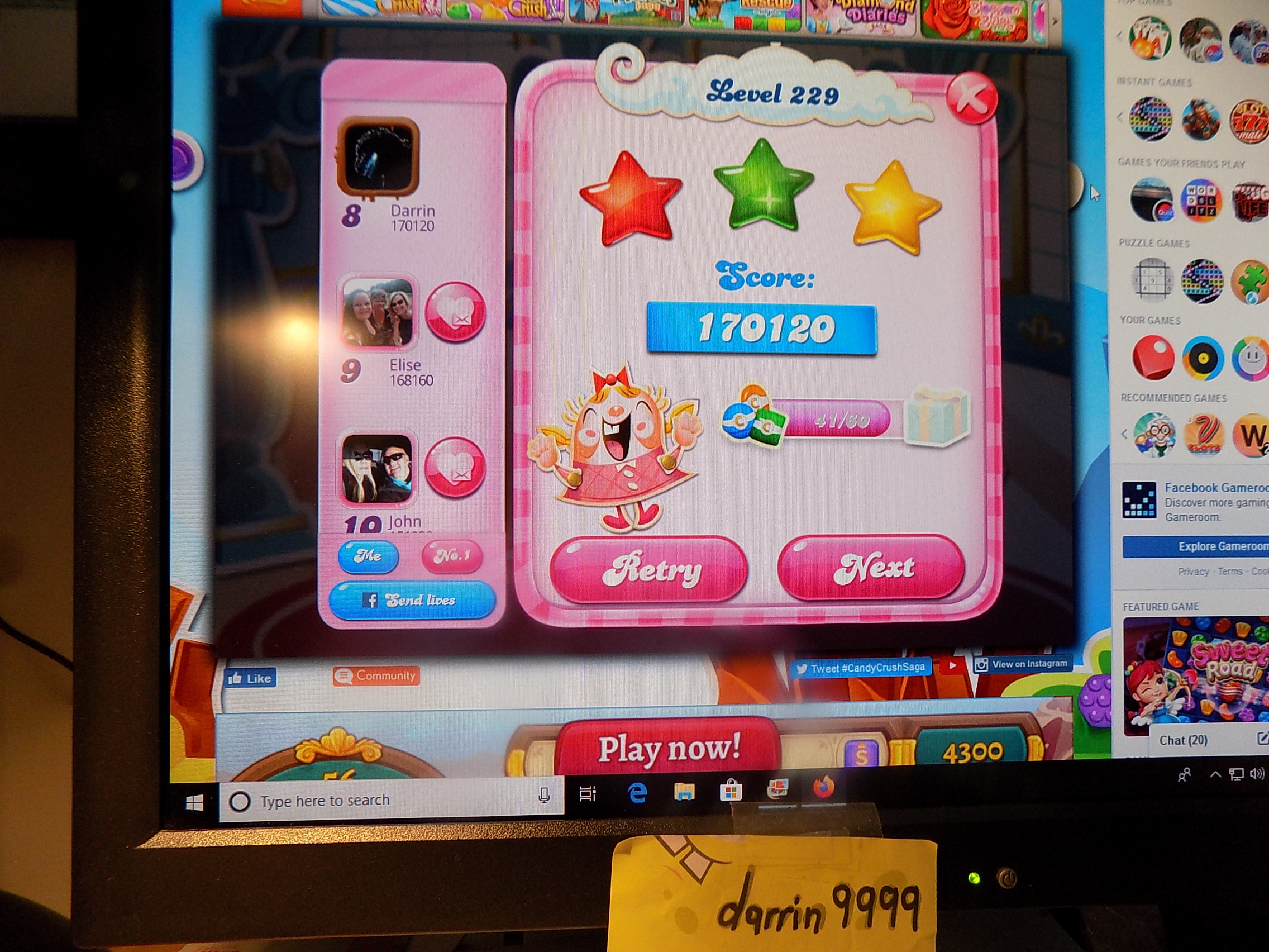 darrin9999: Candy Crush Saga: Level 229 (Web) 170,120 points on 2019-11-18 07:00:17