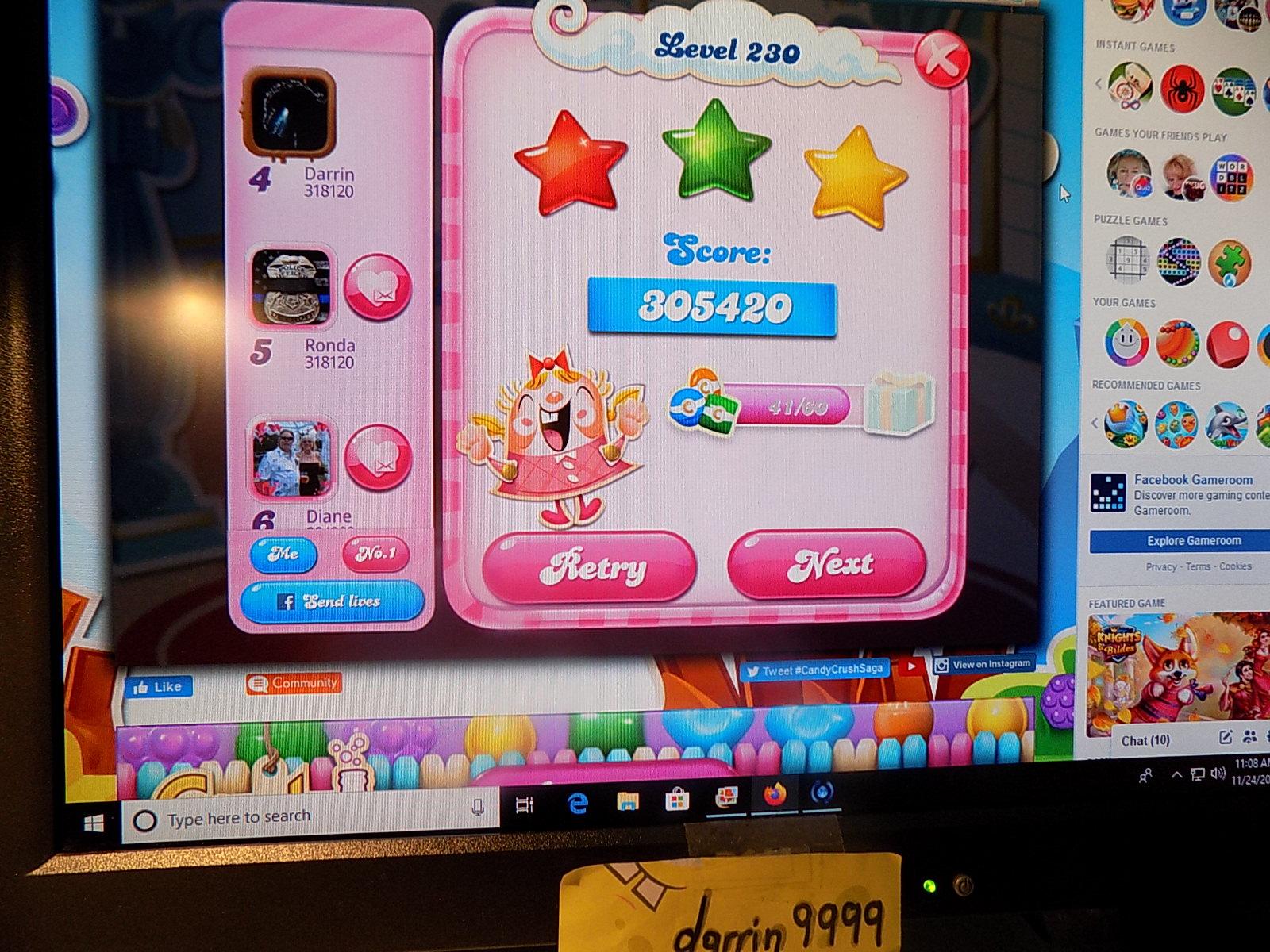 darrin9999: Candy Crush Saga: Level 230 (Web) 305,420 points on 2019-12-15 10:18:49