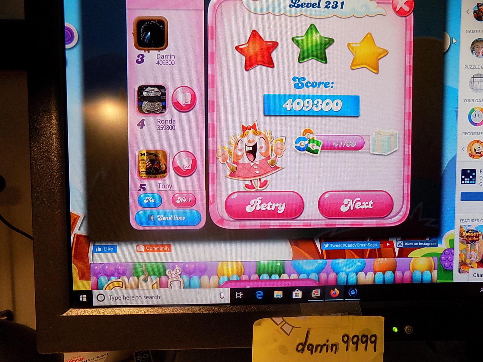 darrin9999: Candy Crush Saga: Level 231 (Web) 409,300 points on 2019-12-15 10:20:26