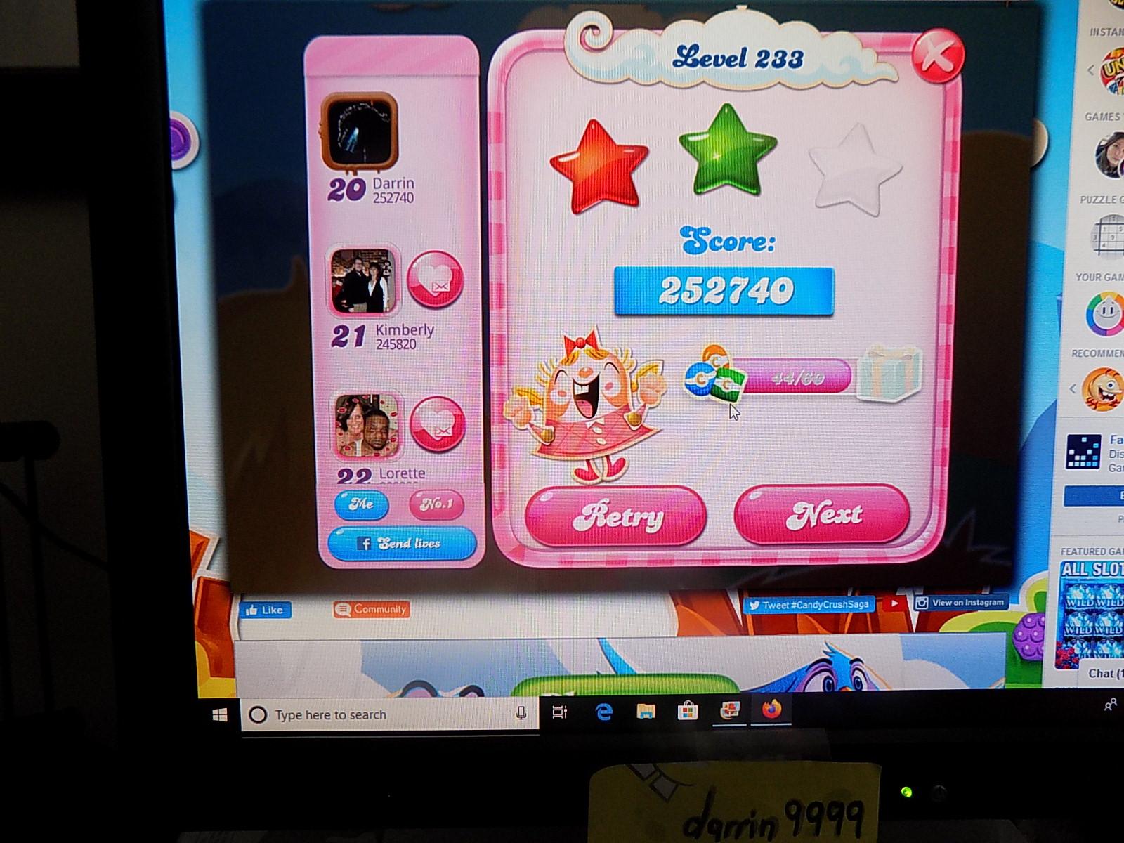 darrin9999: Candy Crush Saga: Level 233 (Web) 252,740 points on 2019-12-22 12:36:29