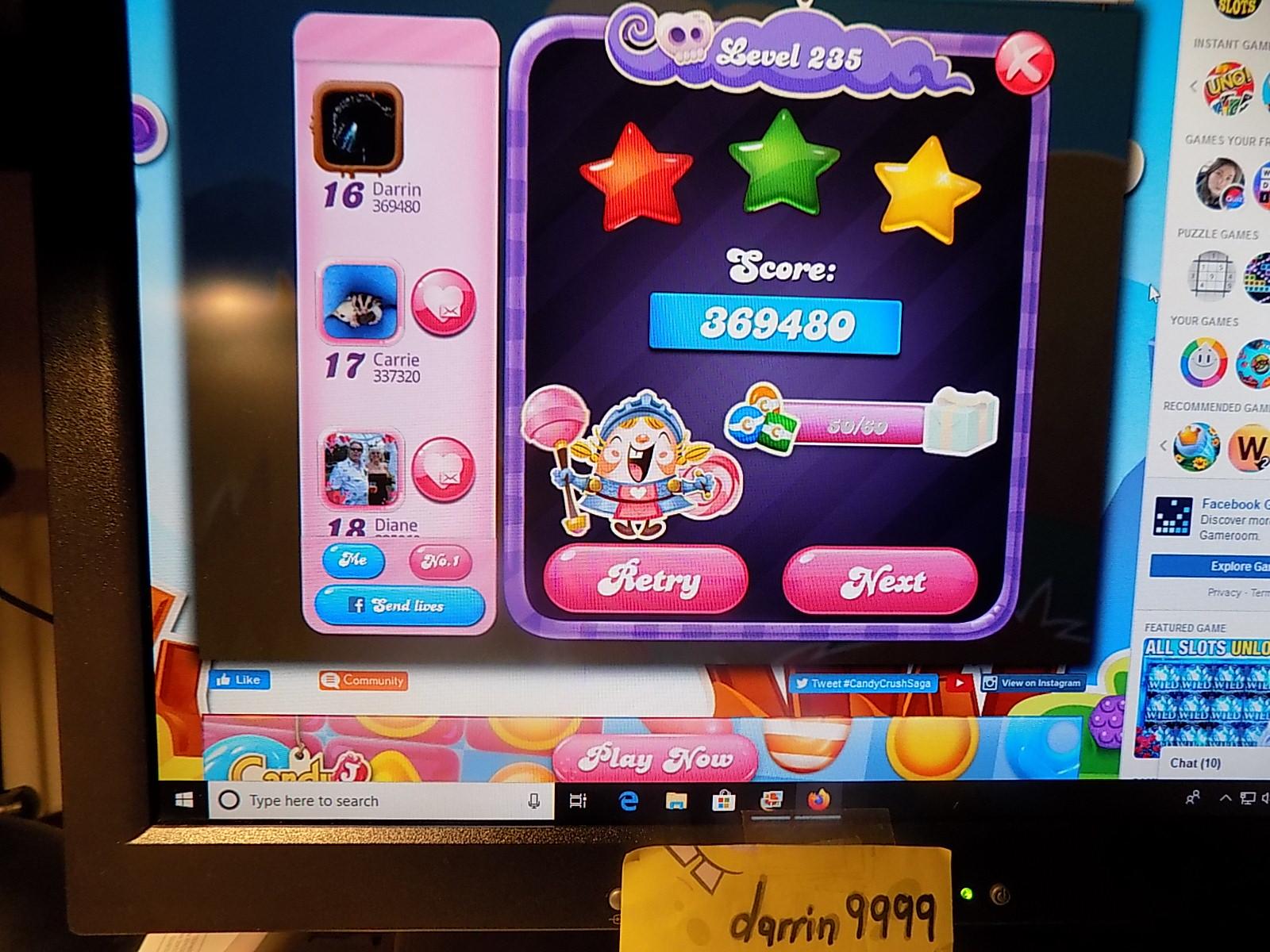 darrin9999: Candy Crush Saga: Level 235 (Web) 369,480 points on 2019-12-25 07:26:11