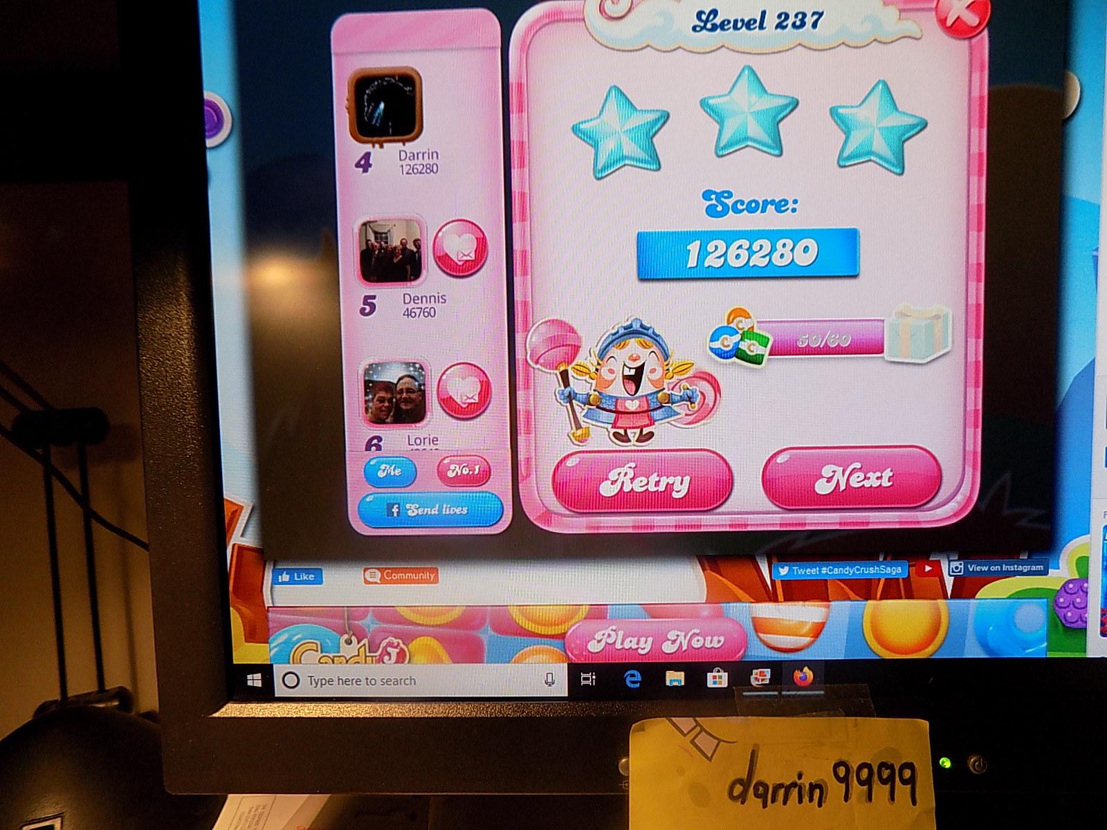 darrin9999: Candy Crush Saga: Level 237 (Web) 126,280 points on 2019-12-25 07:28:29