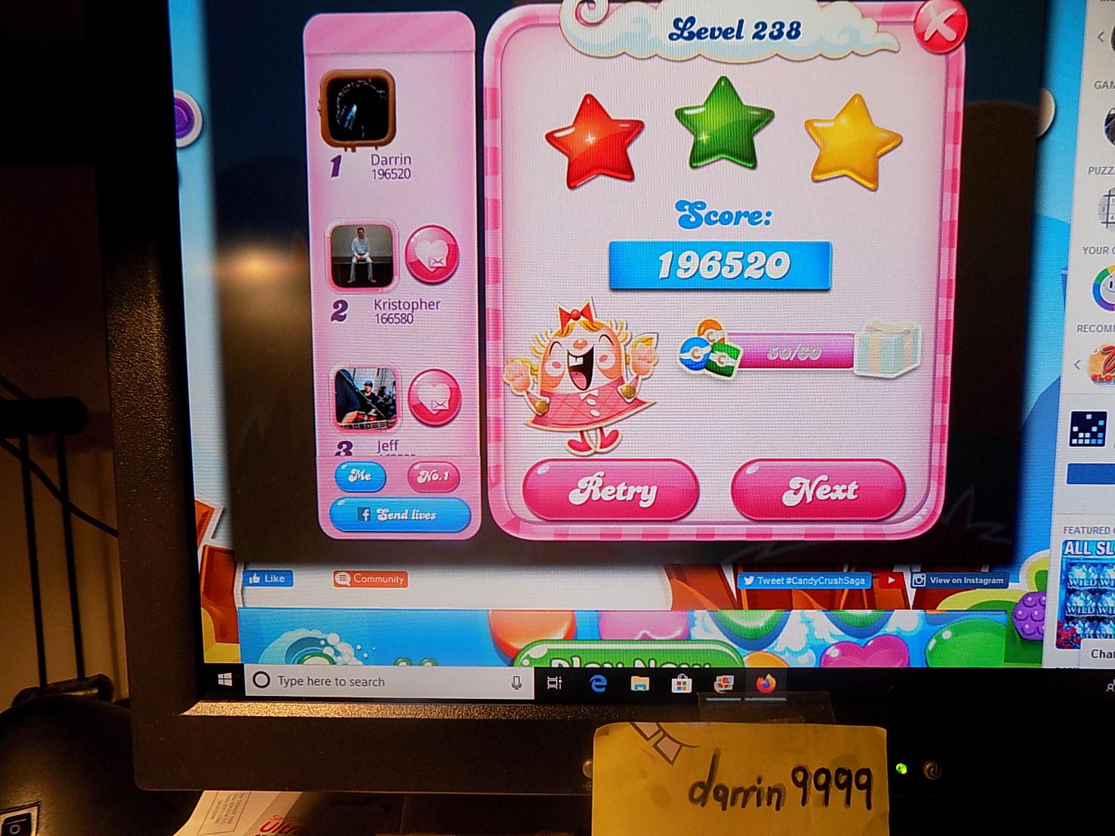 darrin9999: Candy Crush Saga: Level 238 (Web) 196,520 points on 2019-12-25 07:29:25