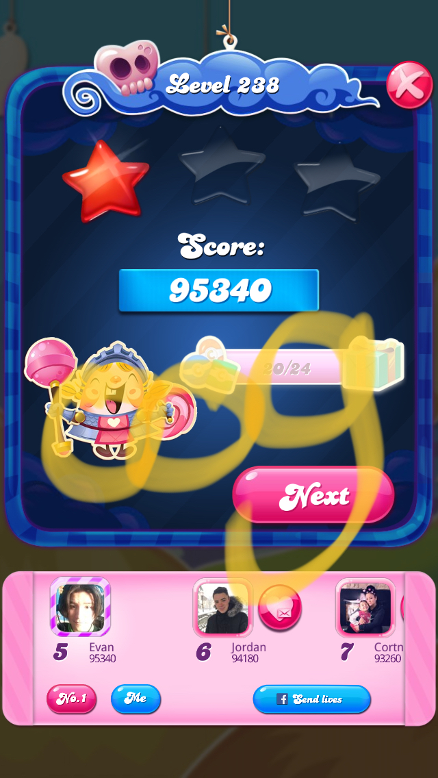Candy Crush Saga: Level 238 95,340 points