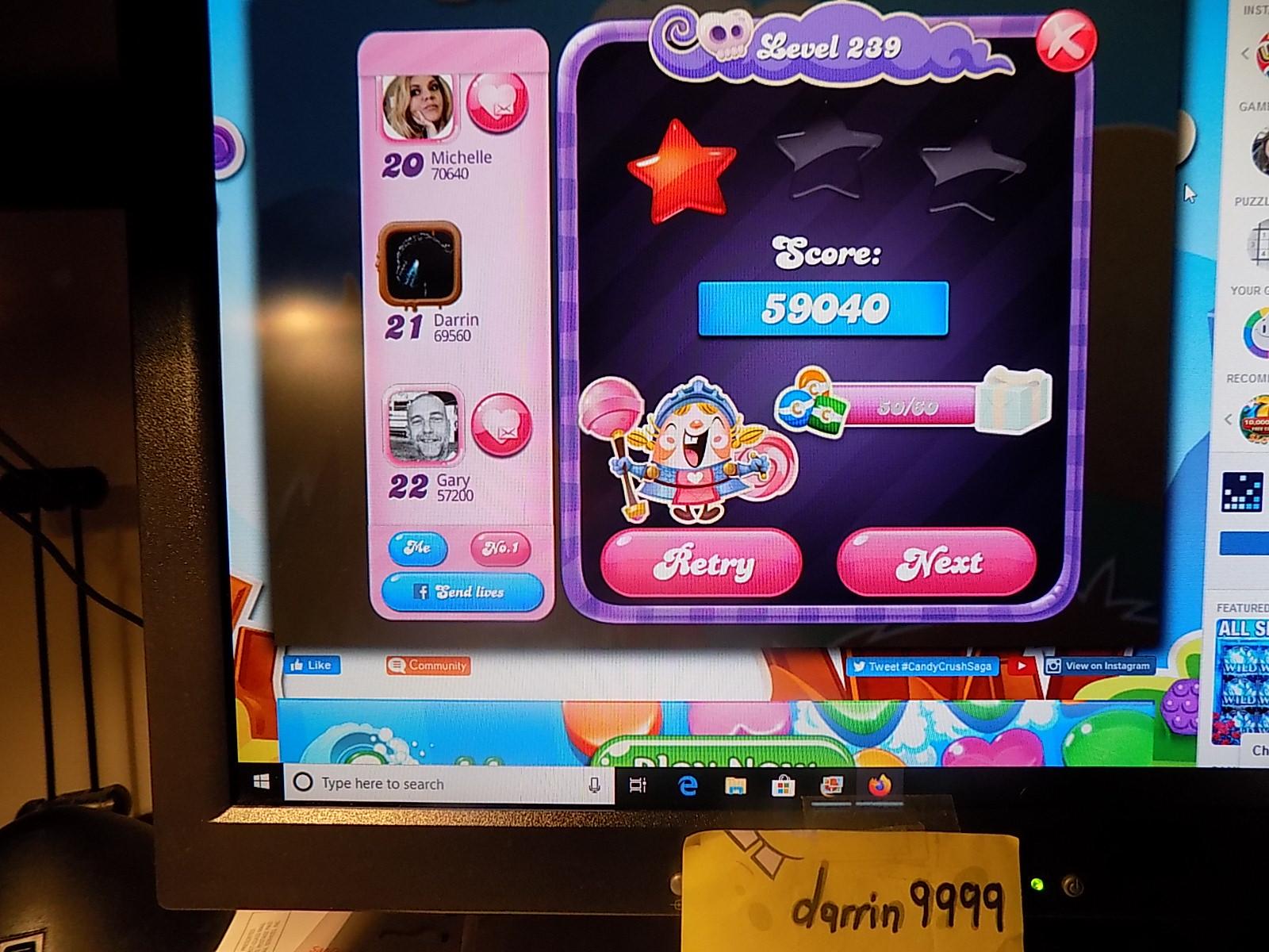 darrin9999: Candy Crush Saga: Level 239 (Web) 59,040 points on 2019-12-25 07:30:35