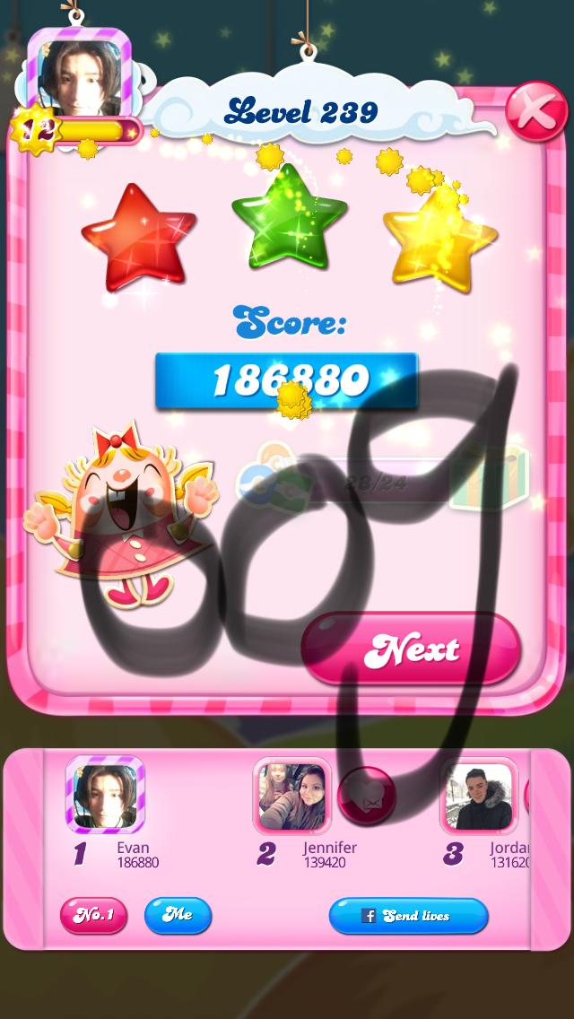 OOG: Candy Crush Saga: Level 239 (iOS) 186,880 points on 2018-03-07 04:37:42