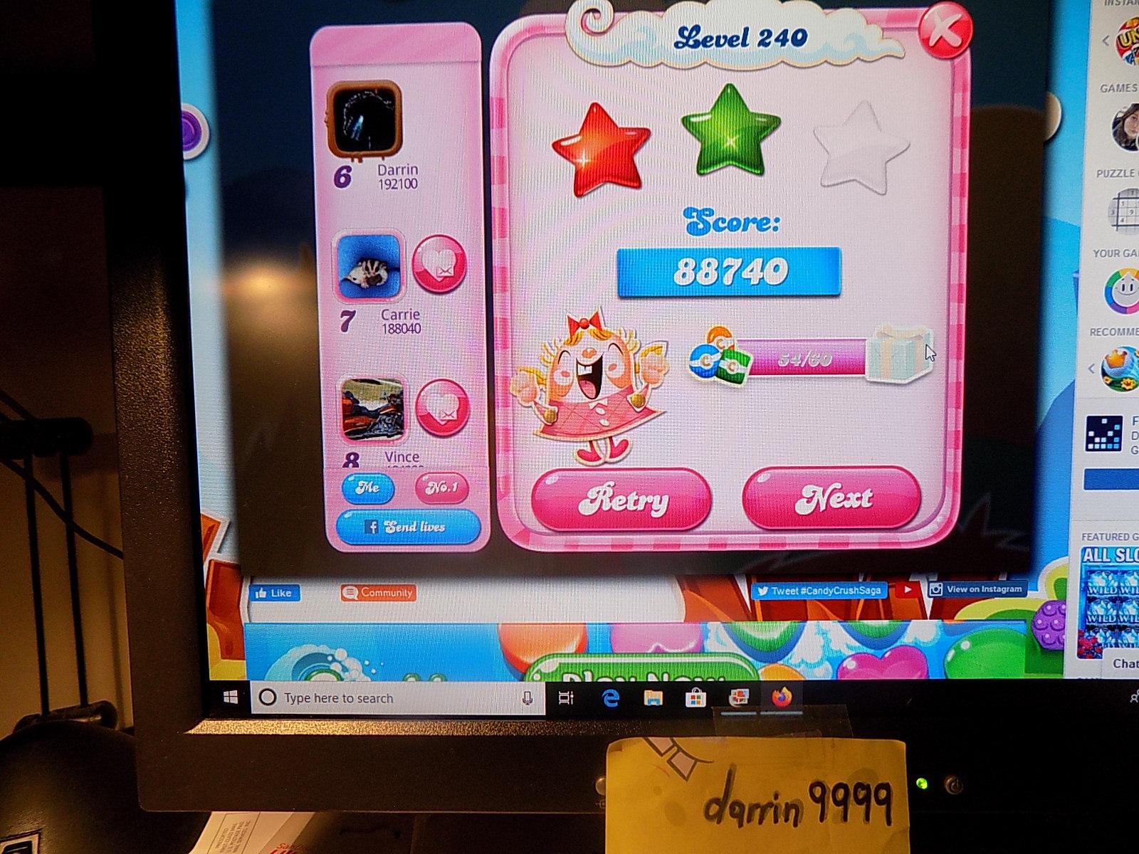 darrin9999: Candy Crush Saga: Level 240 (Web) 88,740 points on 2019-12-25 07:32:04