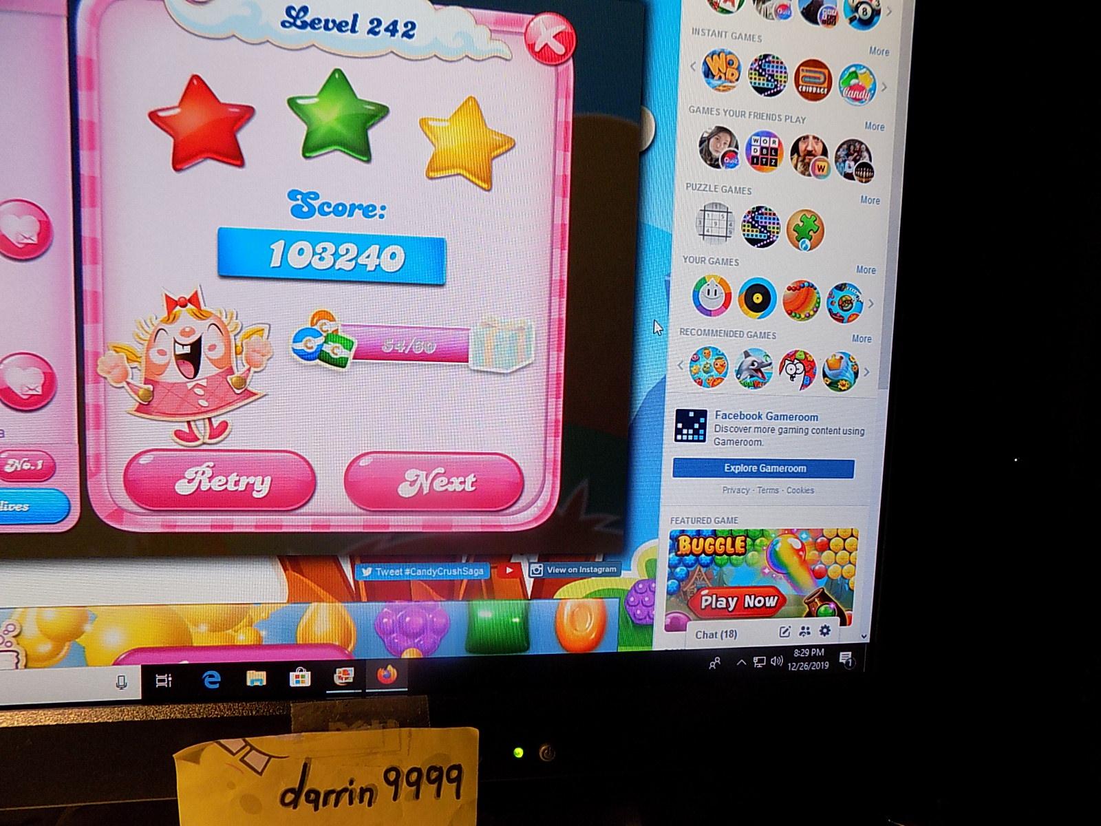 darrin9999: Candy Crush Saga: Level 242 (Web) 103,240 points on 2019-12-29 06:28:01
