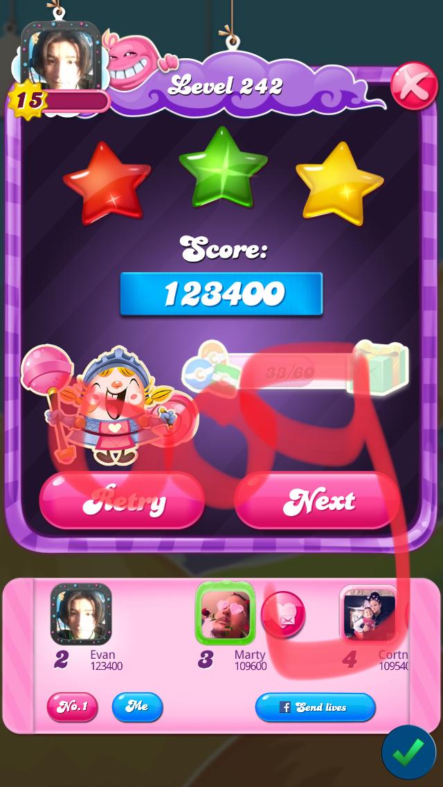 OOG: Candy Crush Saga: Level 242 (iOS) 123,400 points on 2018-03-12 19:12:34