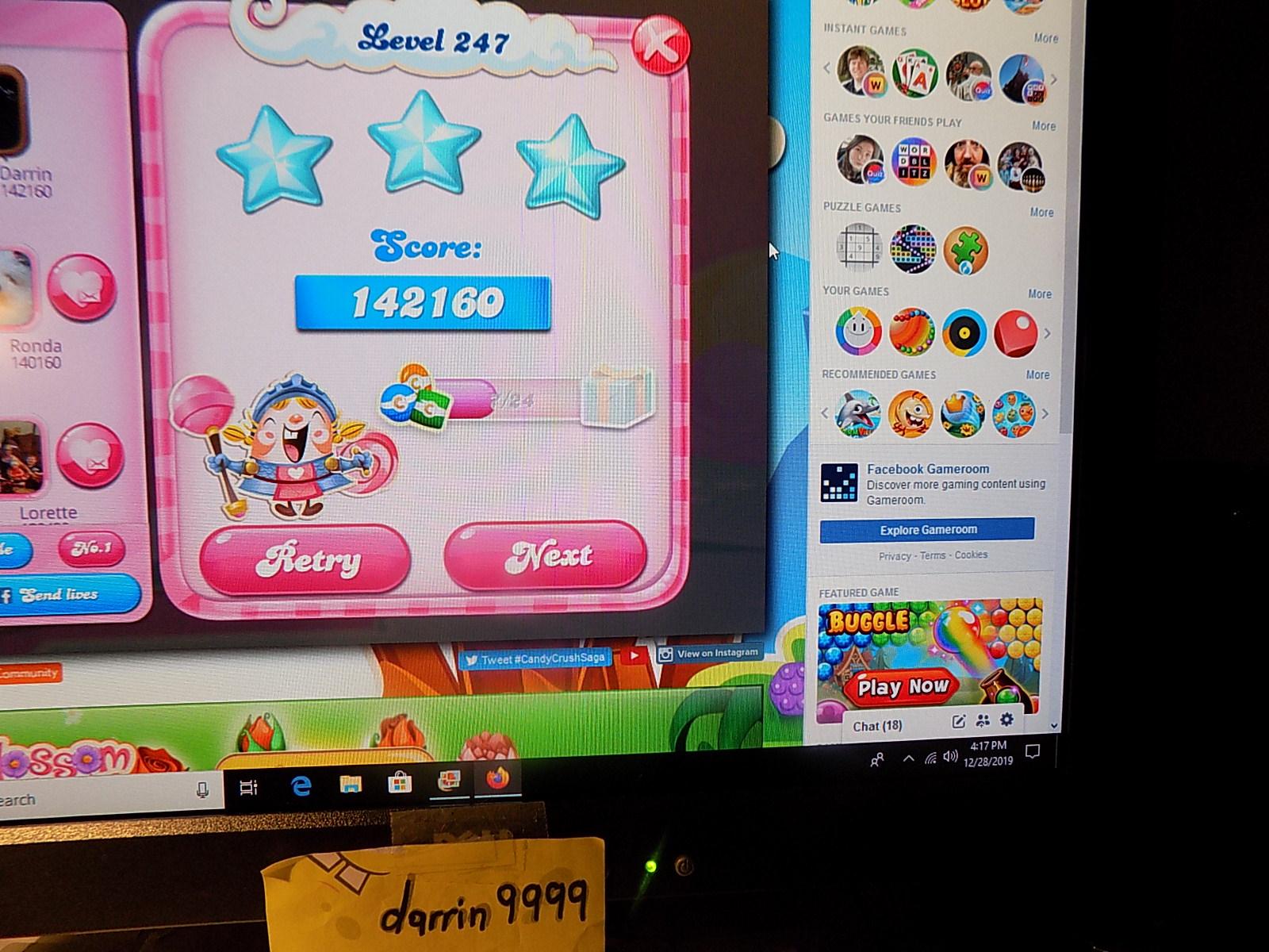 darrin9999: Candy Crush Saga: Level 247 (Web) 142,160 points on 2019-12-29 06:33:42