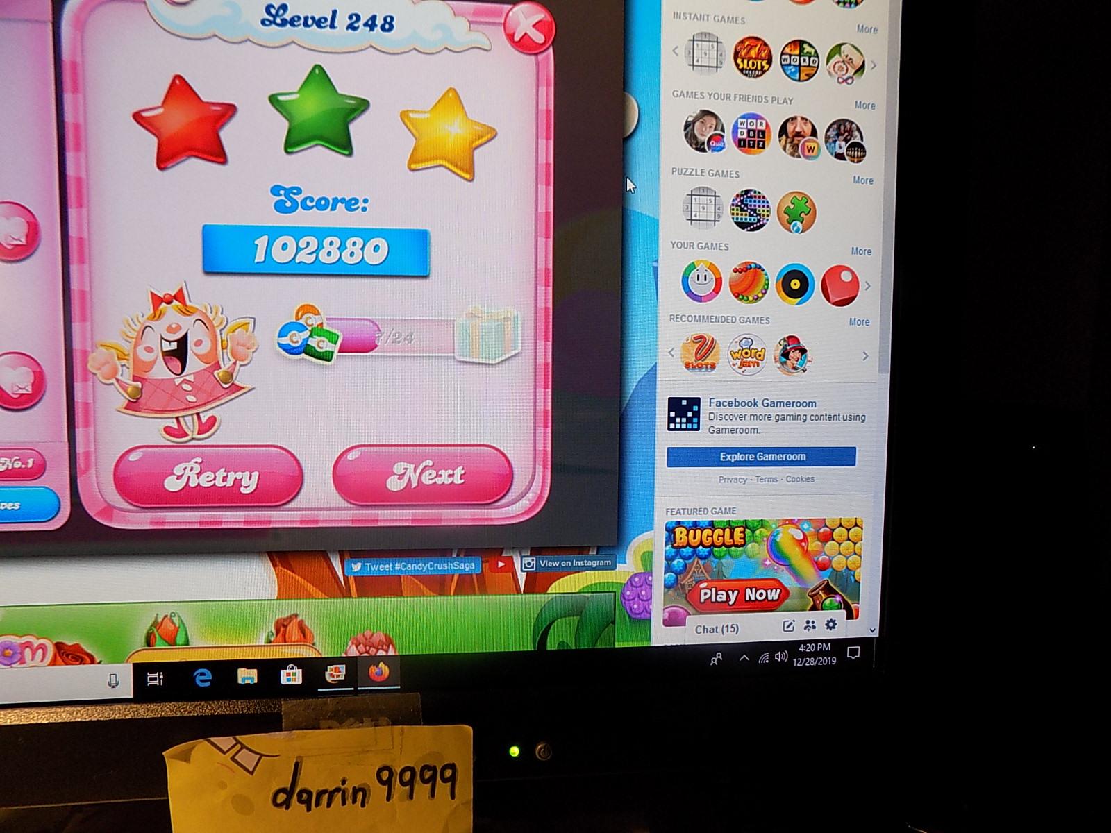 darrin9999: Candy Crush Saga: Level 248 (Web) 102,880 points on 2019-12-29 06:34:35