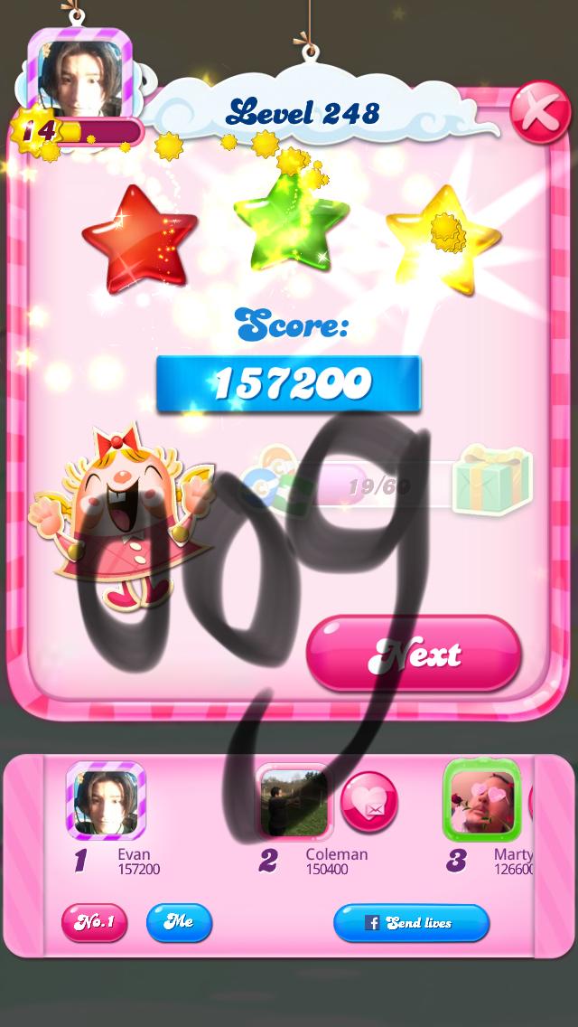 OOG: Candy Crush Saga: Level 248 (iOS) 157,200 points on 2018-03-11 20:06:18