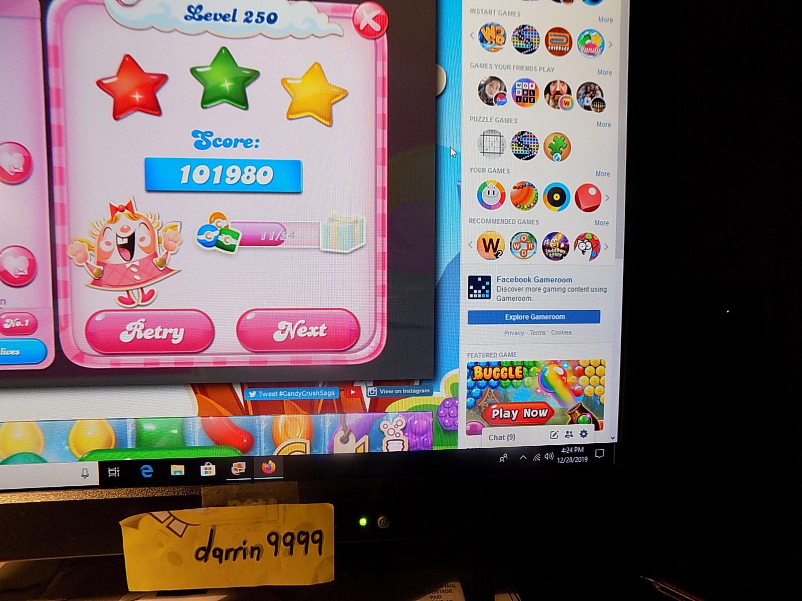 darrin9999: Candy Crush Saga: Level 250 (Web) 101,980 points on 2019-12-29 06:36:47