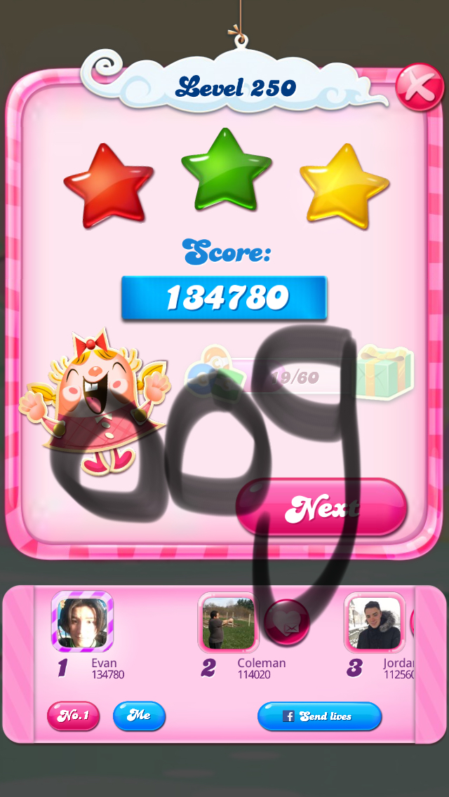 Candy Crush Saga: Level 250 134,780 points