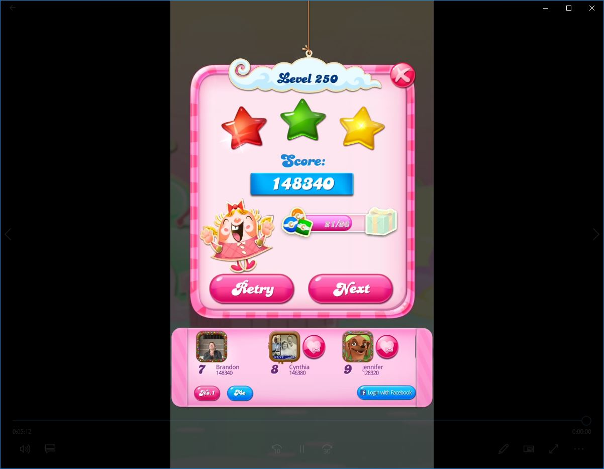 Candy Crush Saga: Level 250 148,340 points